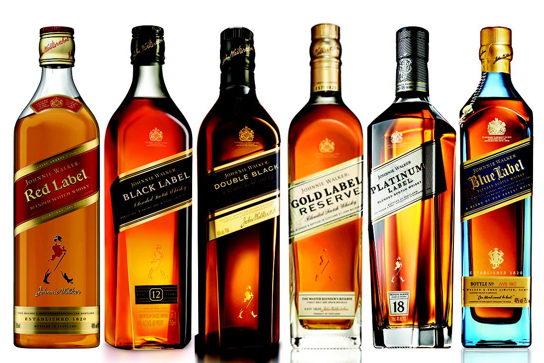 Johnnie Walker scotch whisky bottles