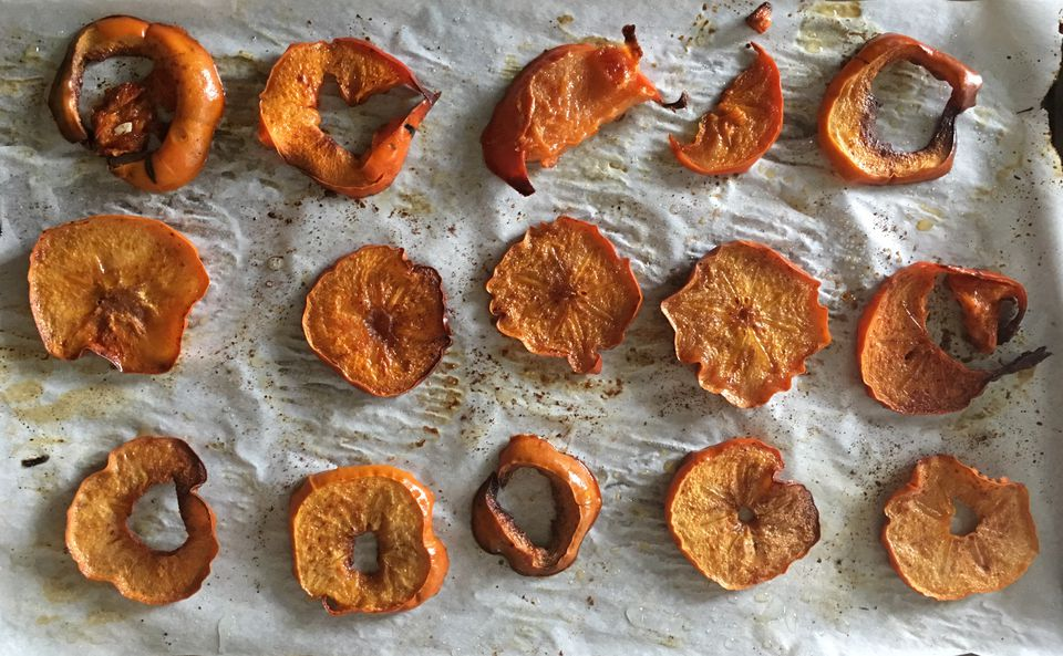 Fuyu Persimmons Baked and Crispy