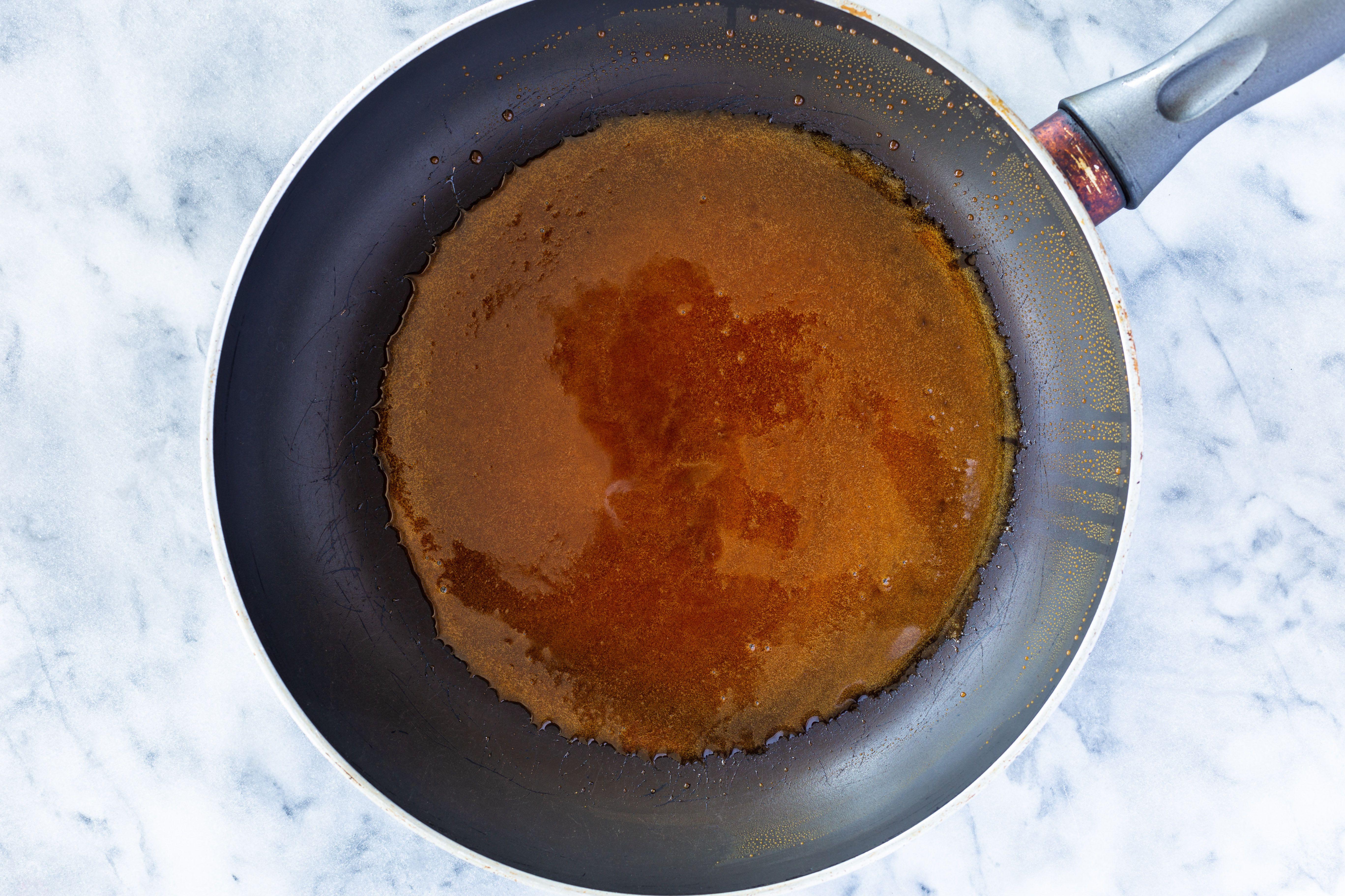 caramelized sugar in a skillet