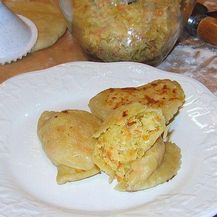 Sauerkraut Pierogi on a white plate