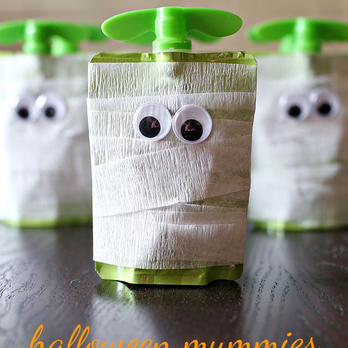 Halloween Mummy Apple Sauce Snack