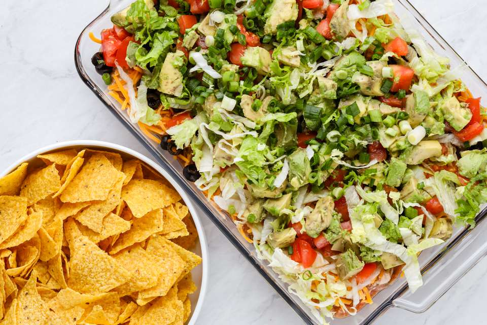 Quick Vegetarian 7-Layer Dip for a Party (With Variations)