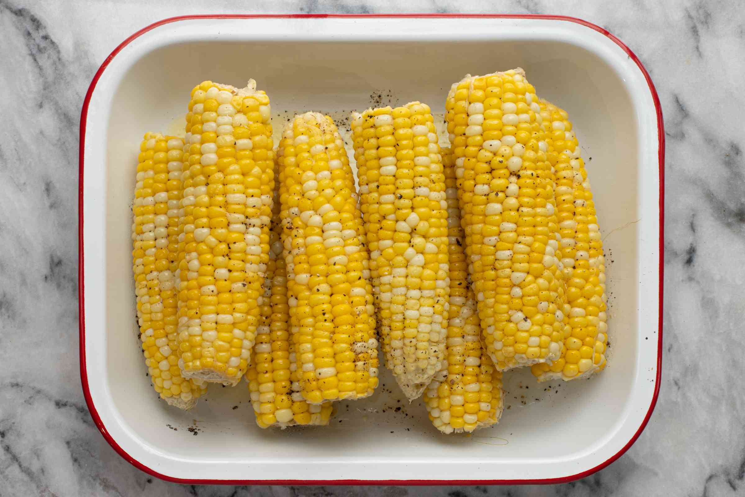 Corn on the cob removed from the Instant Pot.