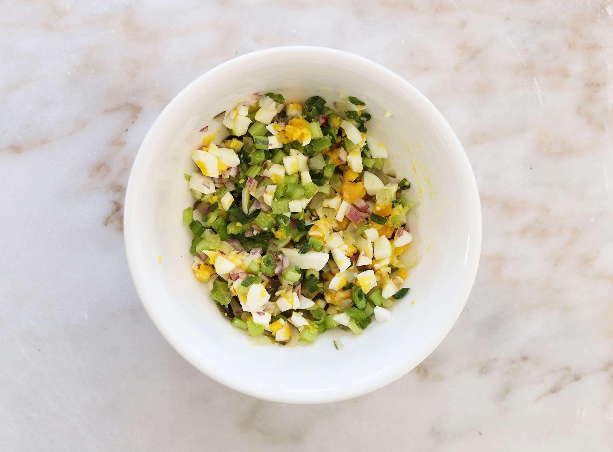 chopped veggies and hard boiled egg