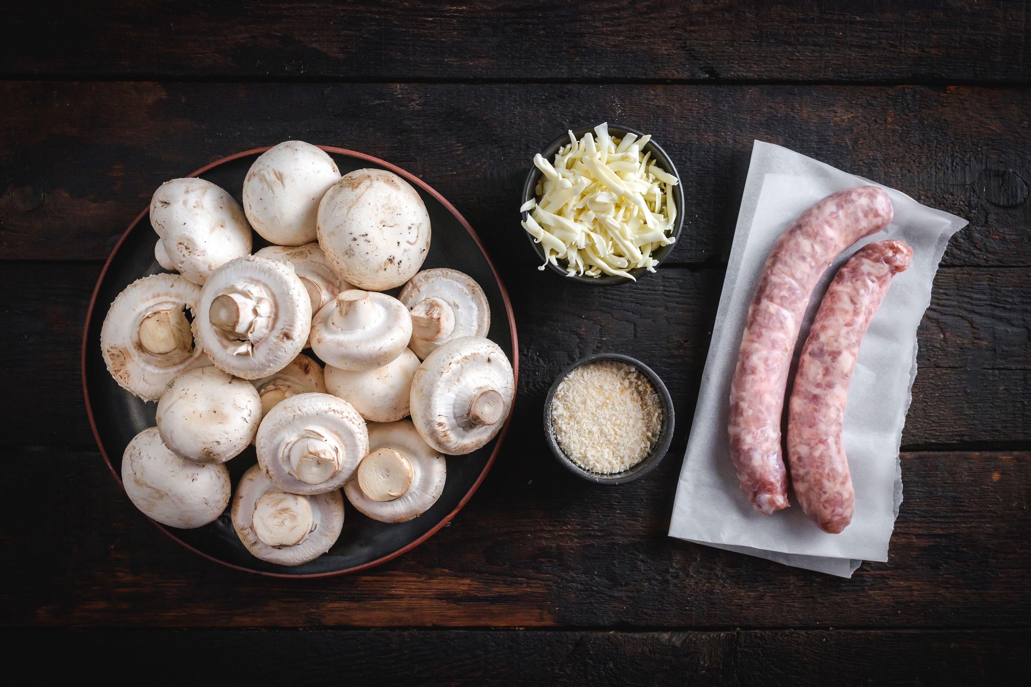 Ingredients for sausage-stuffed mushrooms