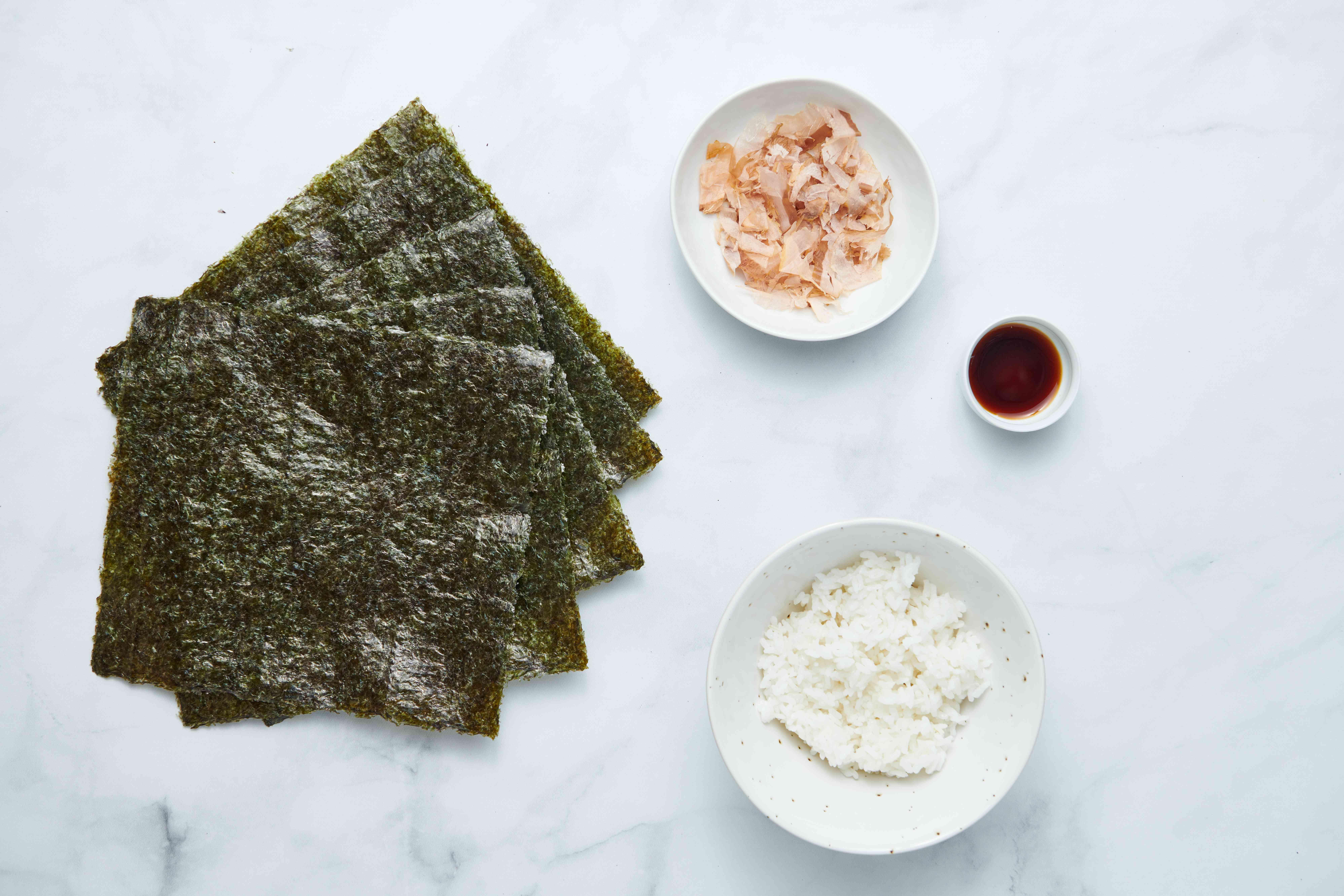 Okaka Onigiri Rice Balls ingredients