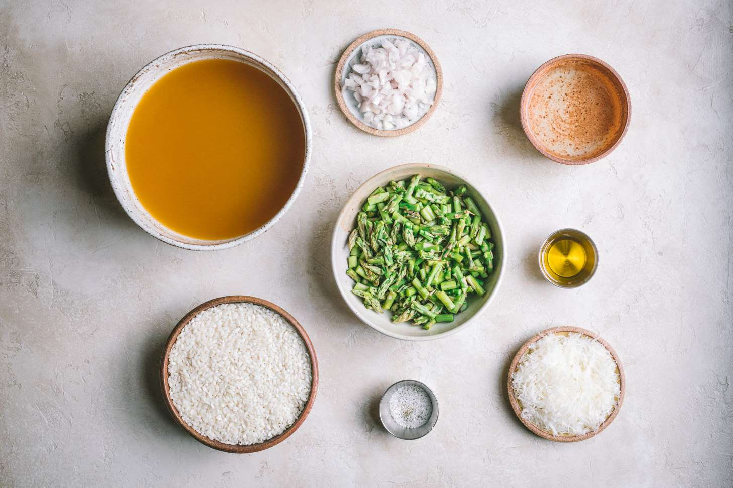Ingredients for cheesy vegetarian risotto