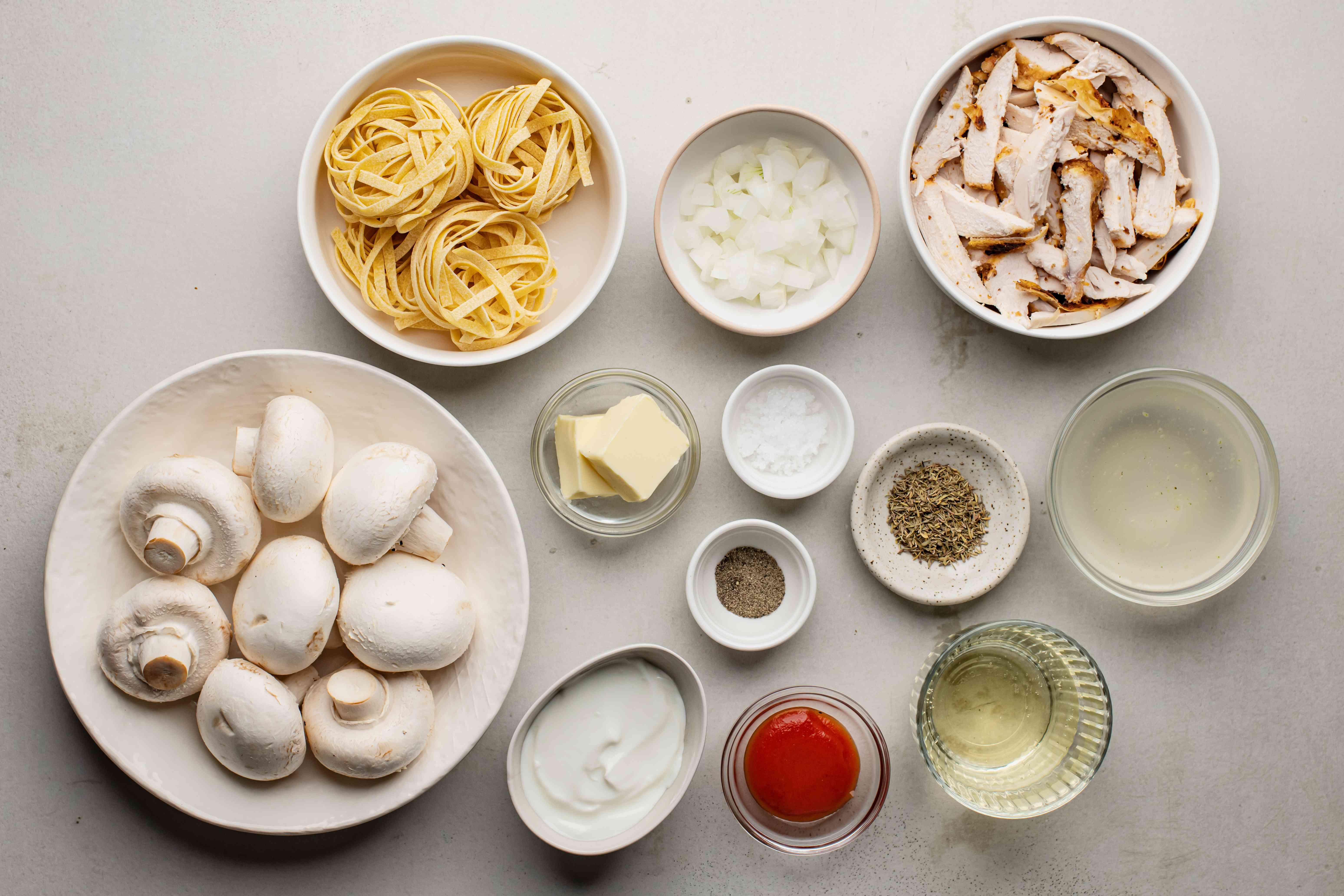 Ingredients for leftovers stroganoff