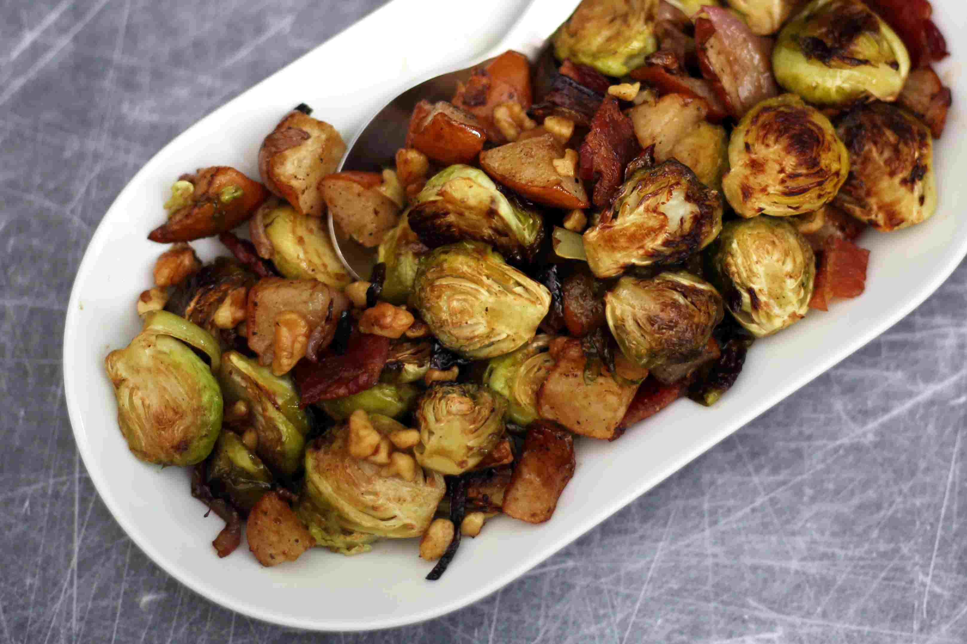 brussels sprouts with pears, walnuts, and bacon