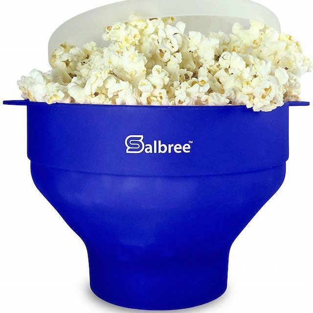 Salbree Microwave Popcorn Popper, Silicone Popcorn Maker, Collapsible Bowl BPA Free (Blue)