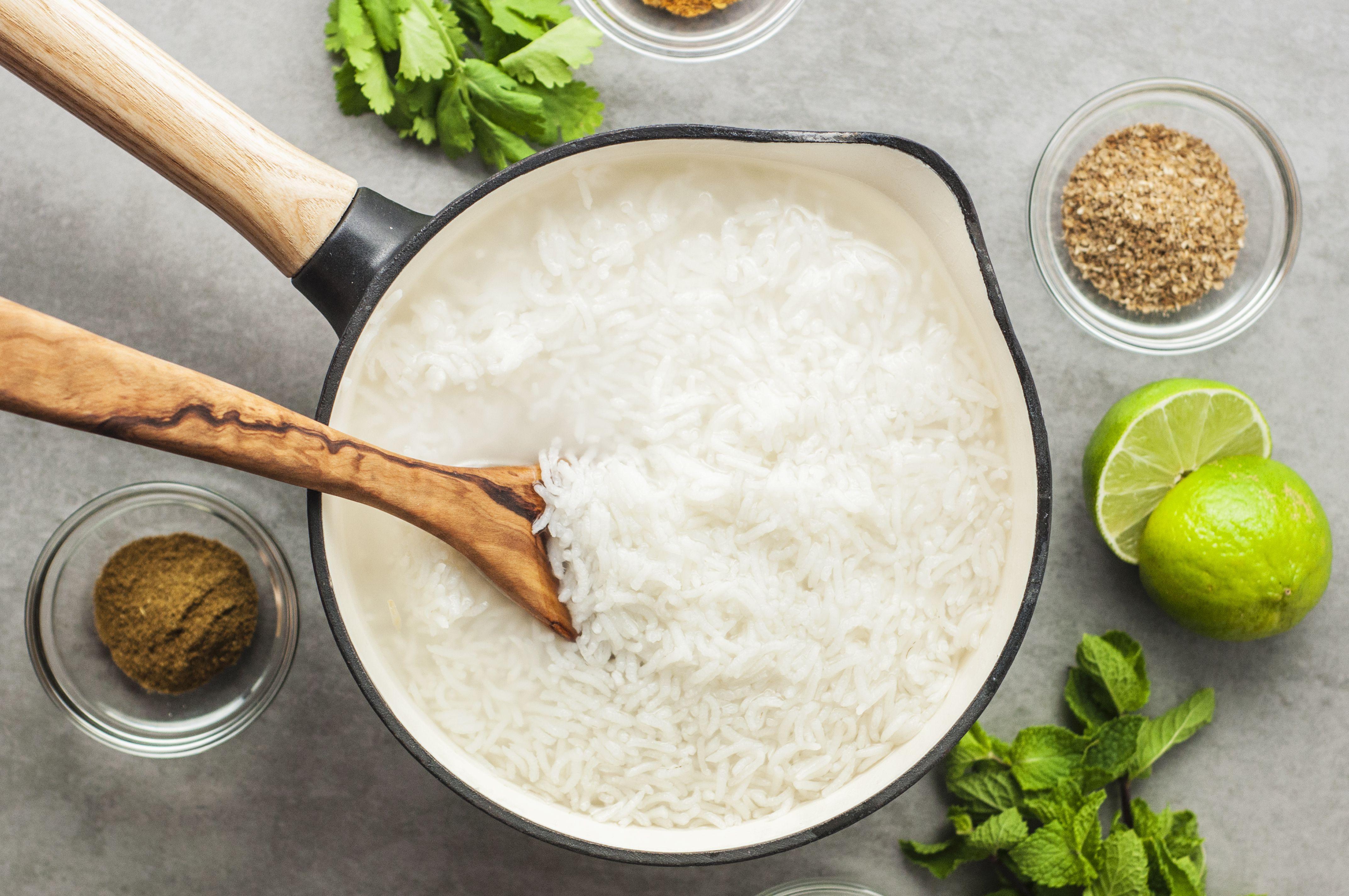Boil rice until done
