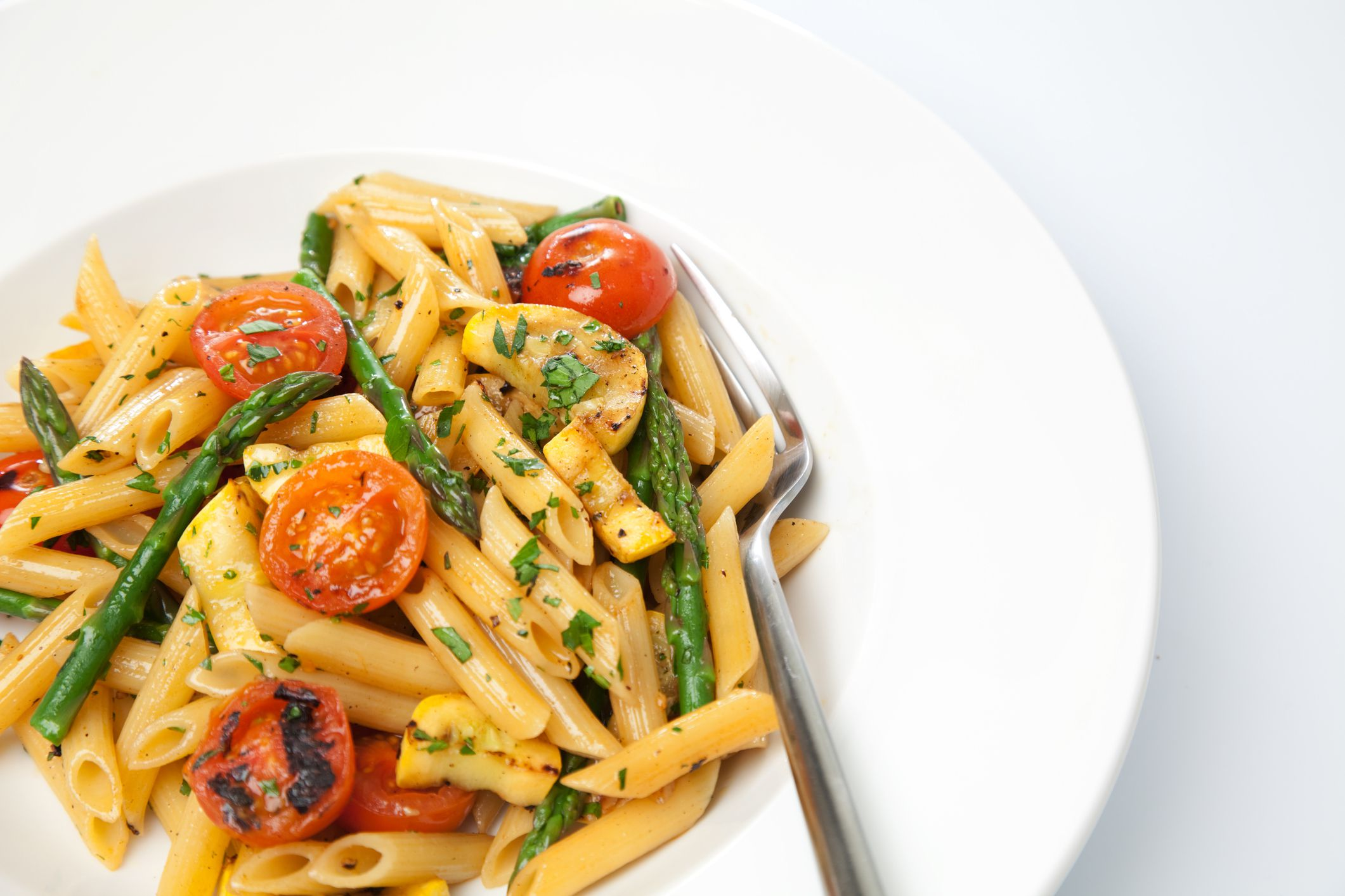 Penne Pasta with Asparagus, Pancetta and Cherry Tomatoes