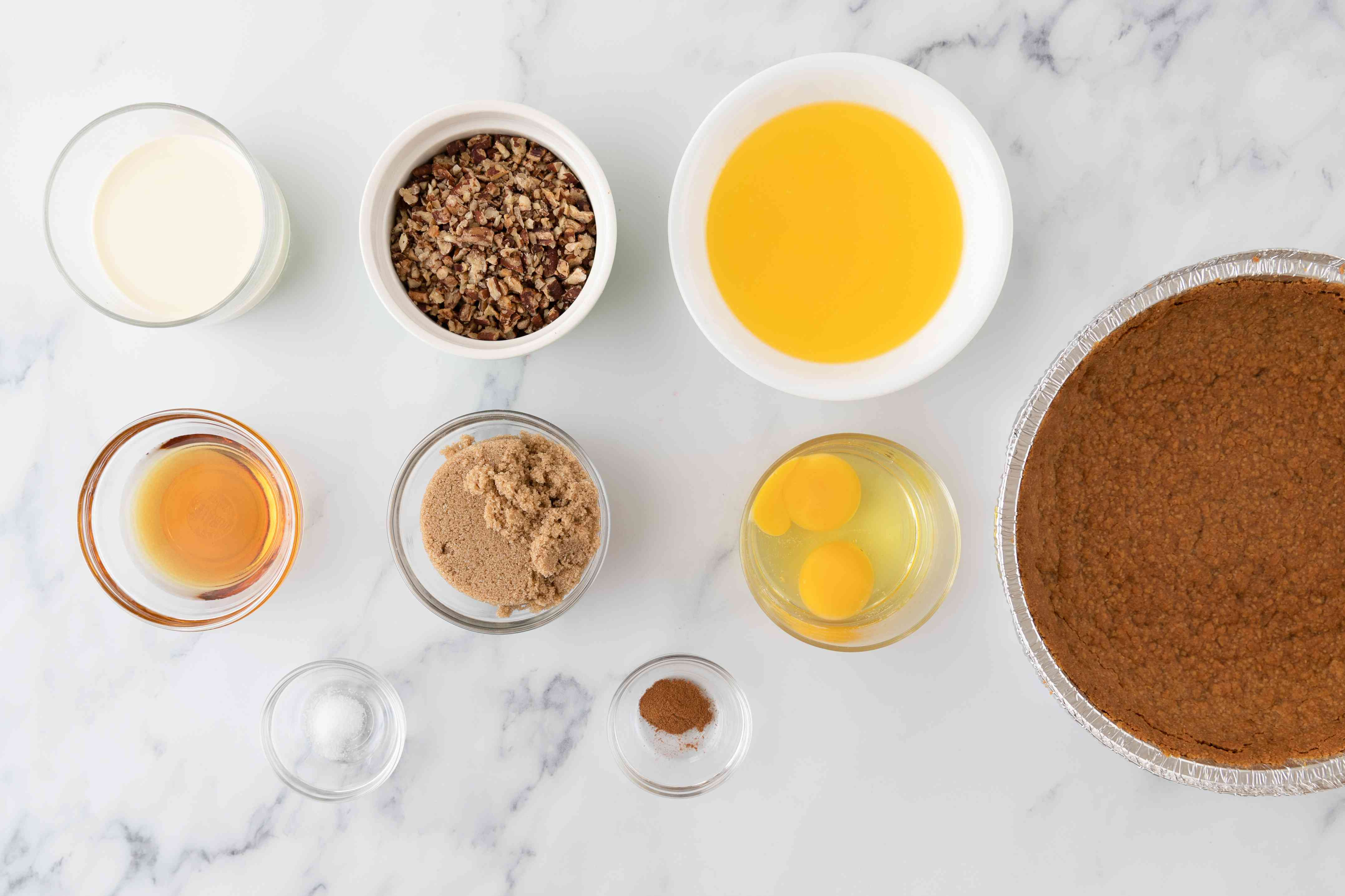 Gather the ingredients for pecan pie