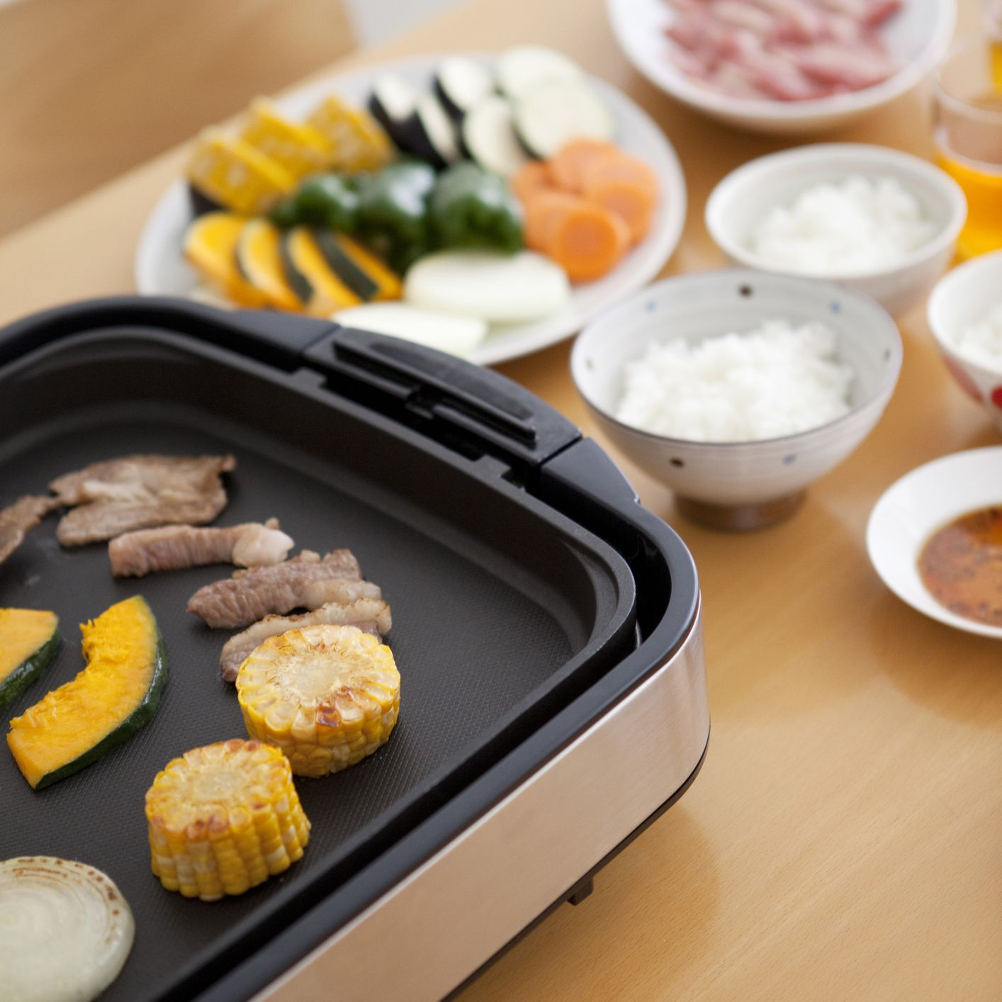 Teppanyaki Style Japanese Barbecue Using Iron Plate