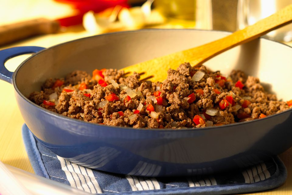 Browning Ground Beef for Layered Shipwreck Casserole