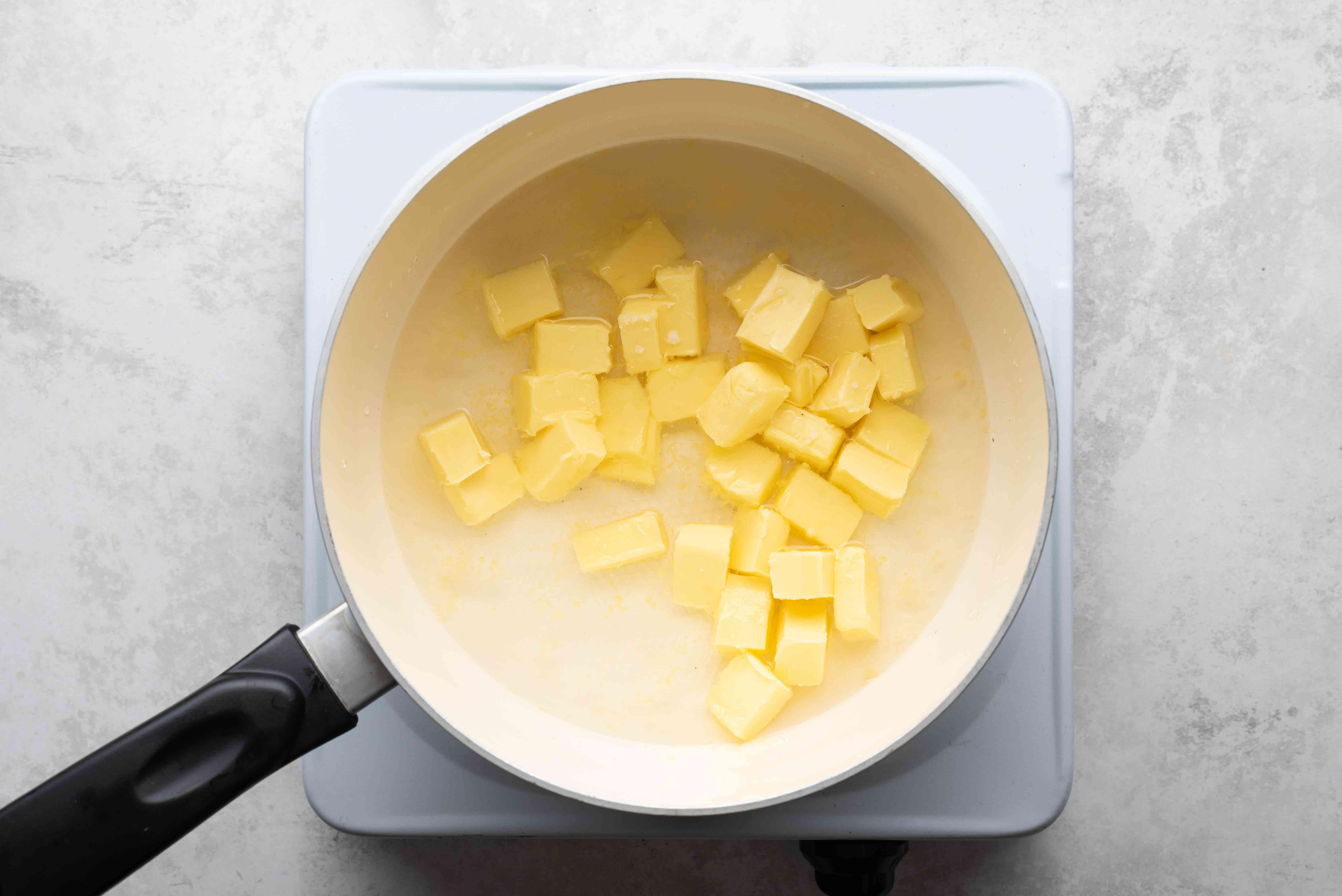 water, butter and salt in a saucepan