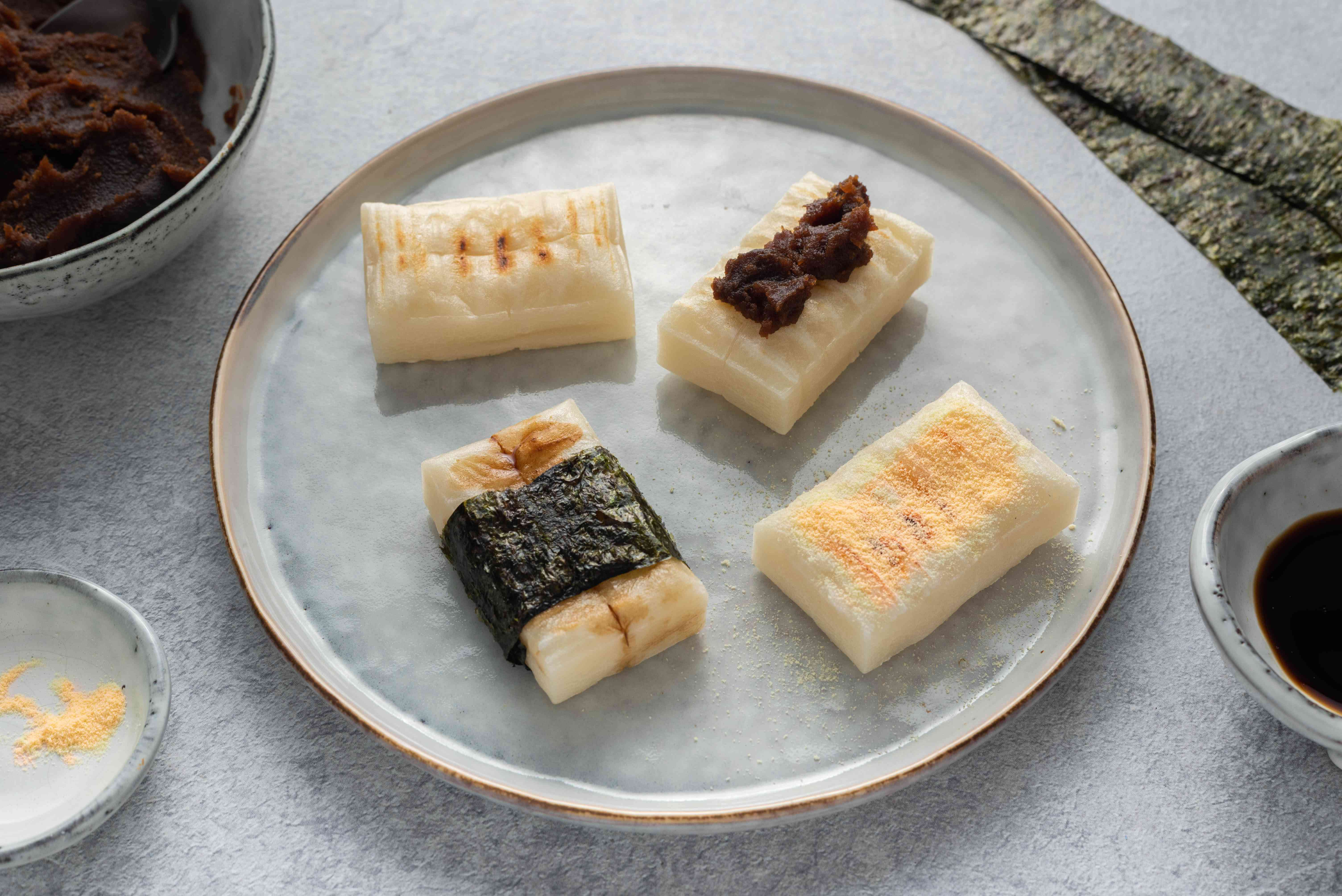 Yaki Mochi (Grilled Japanese Rice Cake) on a plate
