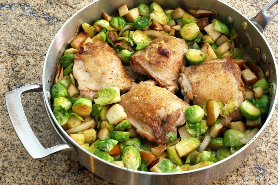 One-Dish Chicken Thighs, Pears, and Brussels Sprouts