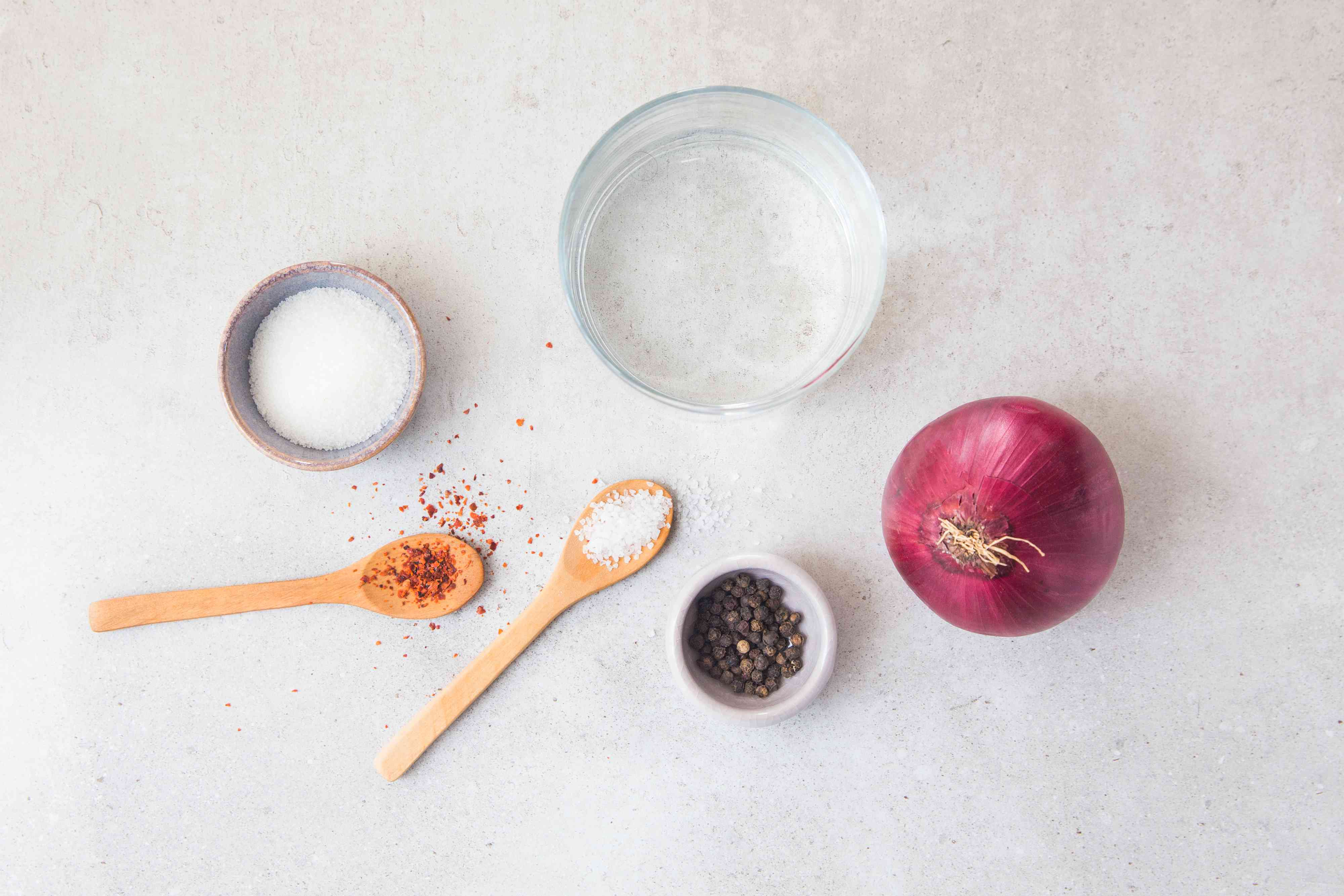 Ingredients for quick pickled red onions