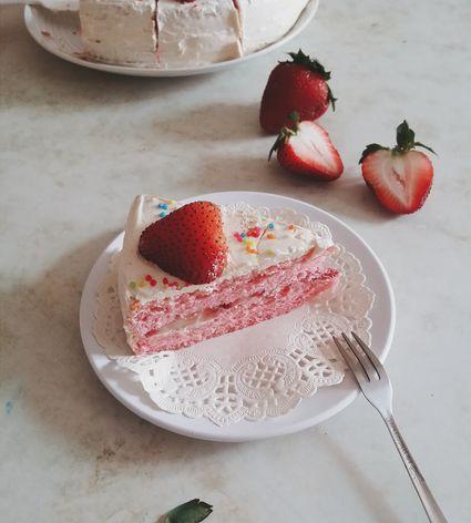 Strawberry on cake