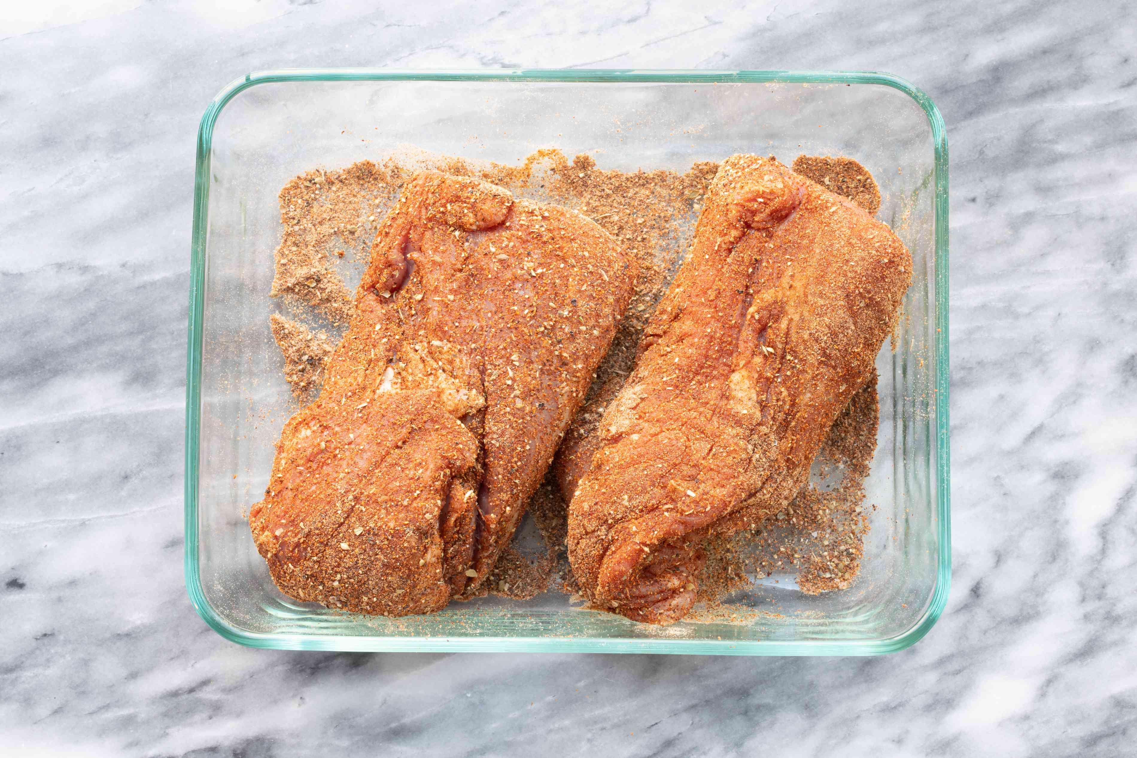 spices rubbed over the pork tenderloin