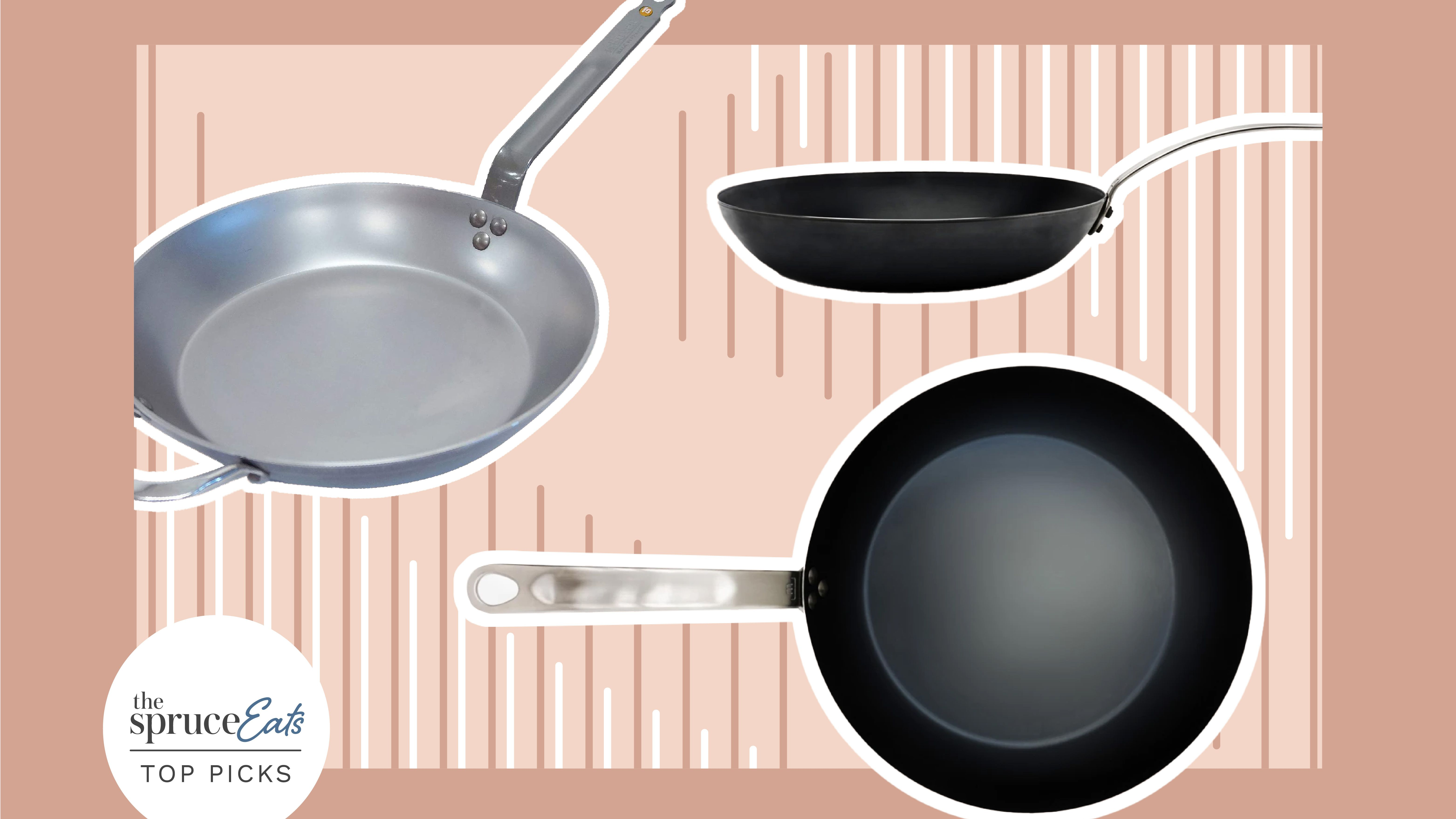 Salter BW05456BS Carbon Steel Pan for Life Pre-Seasoned Frying Pan Oven Safe Black 24 cm
