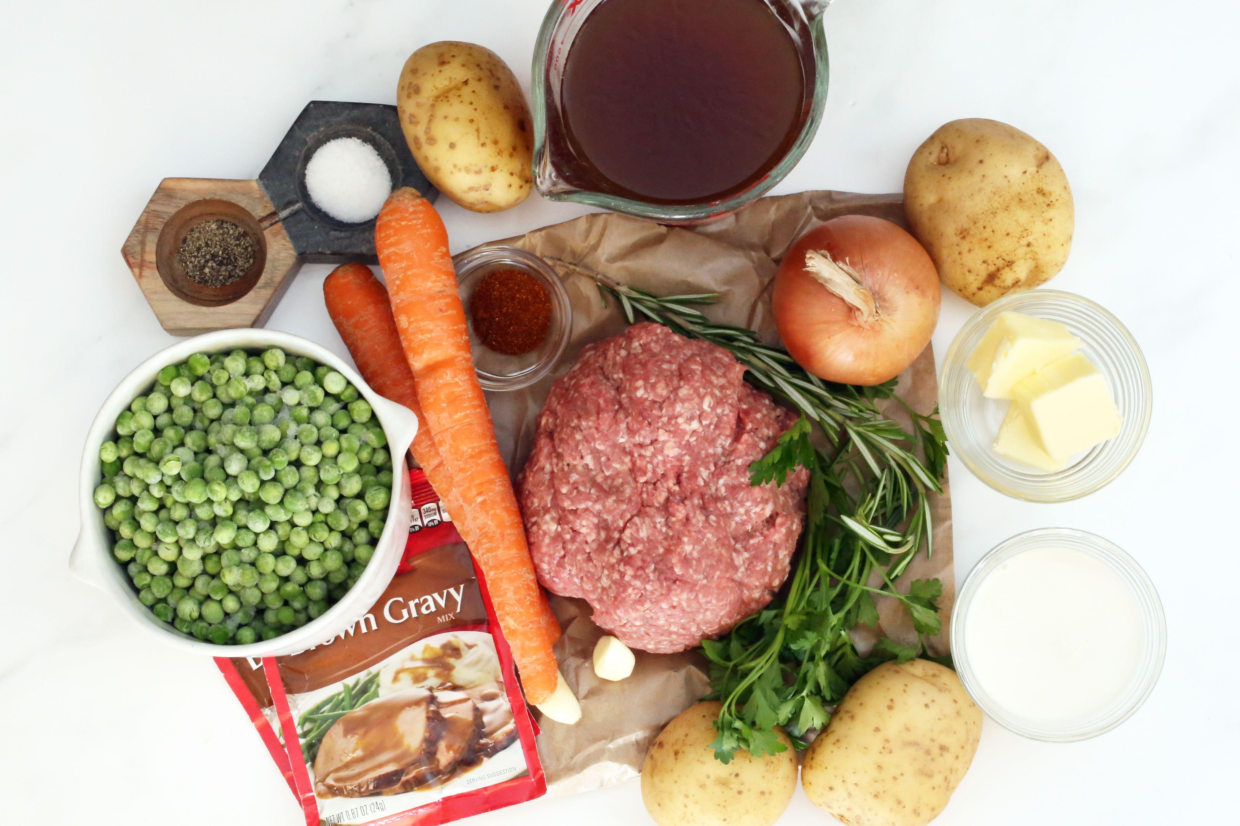 Ingredients for the Instant Pot shepherd's pie