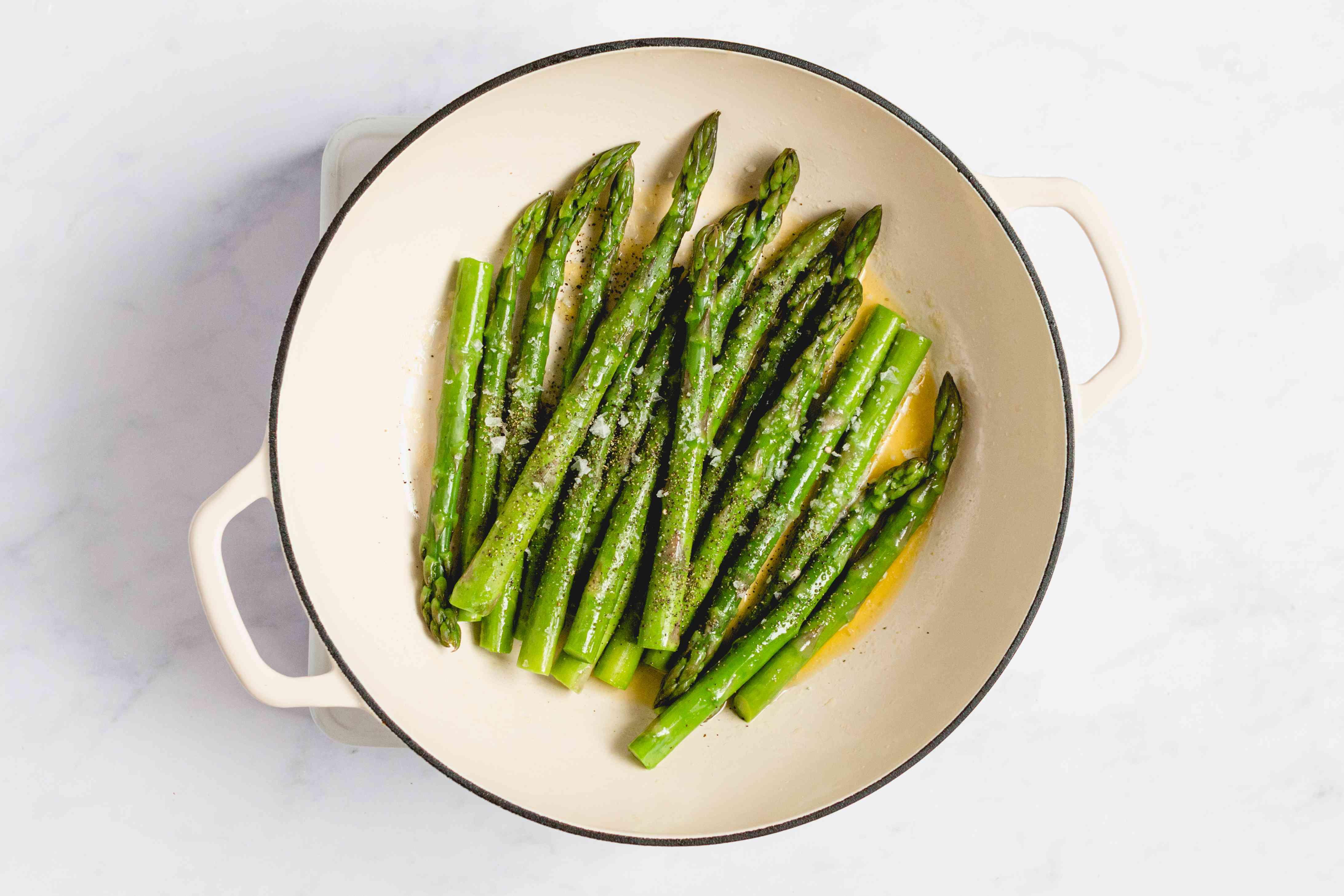 Tender Asparagus in a saucepan