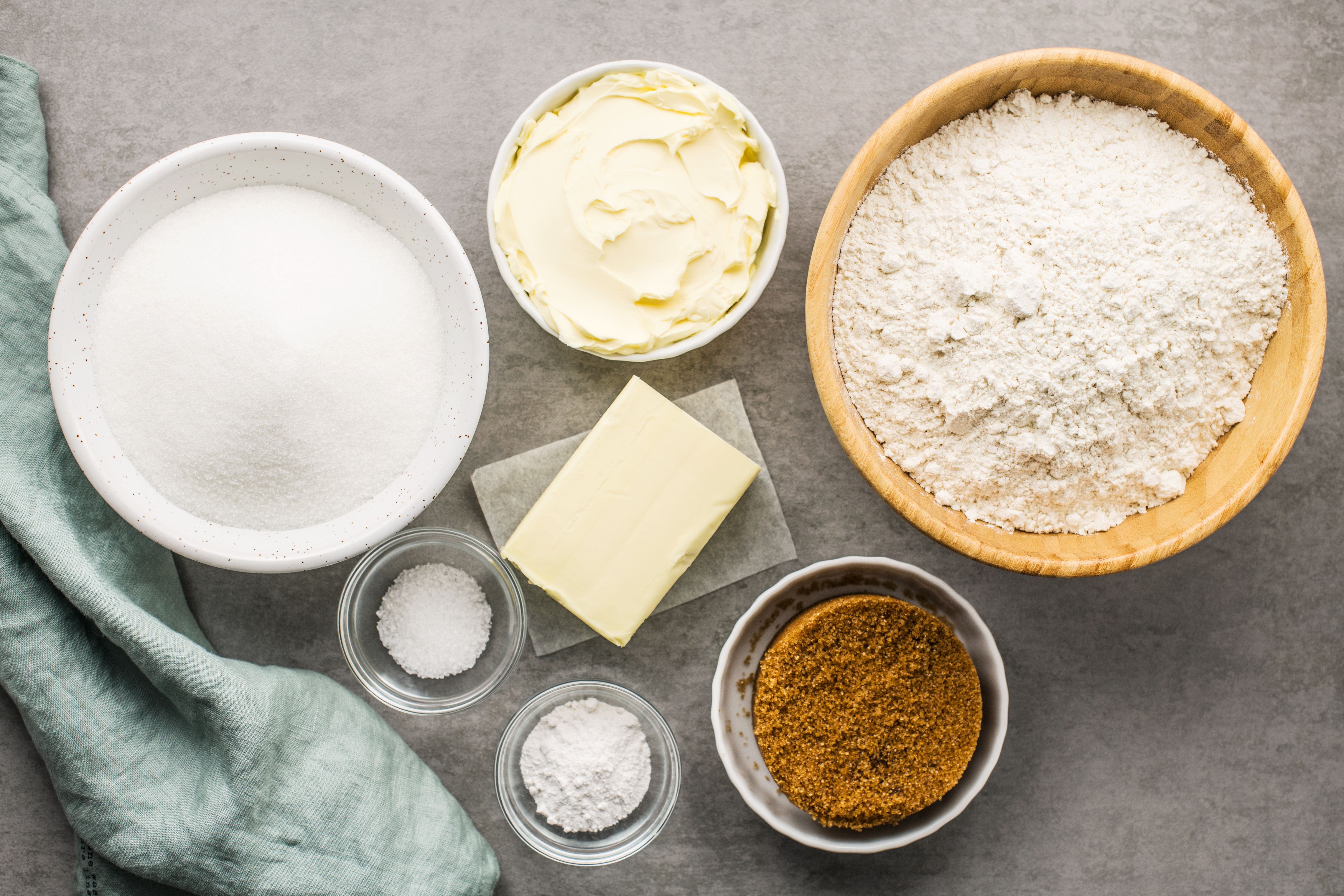 Ingredients for homemade cookie mix