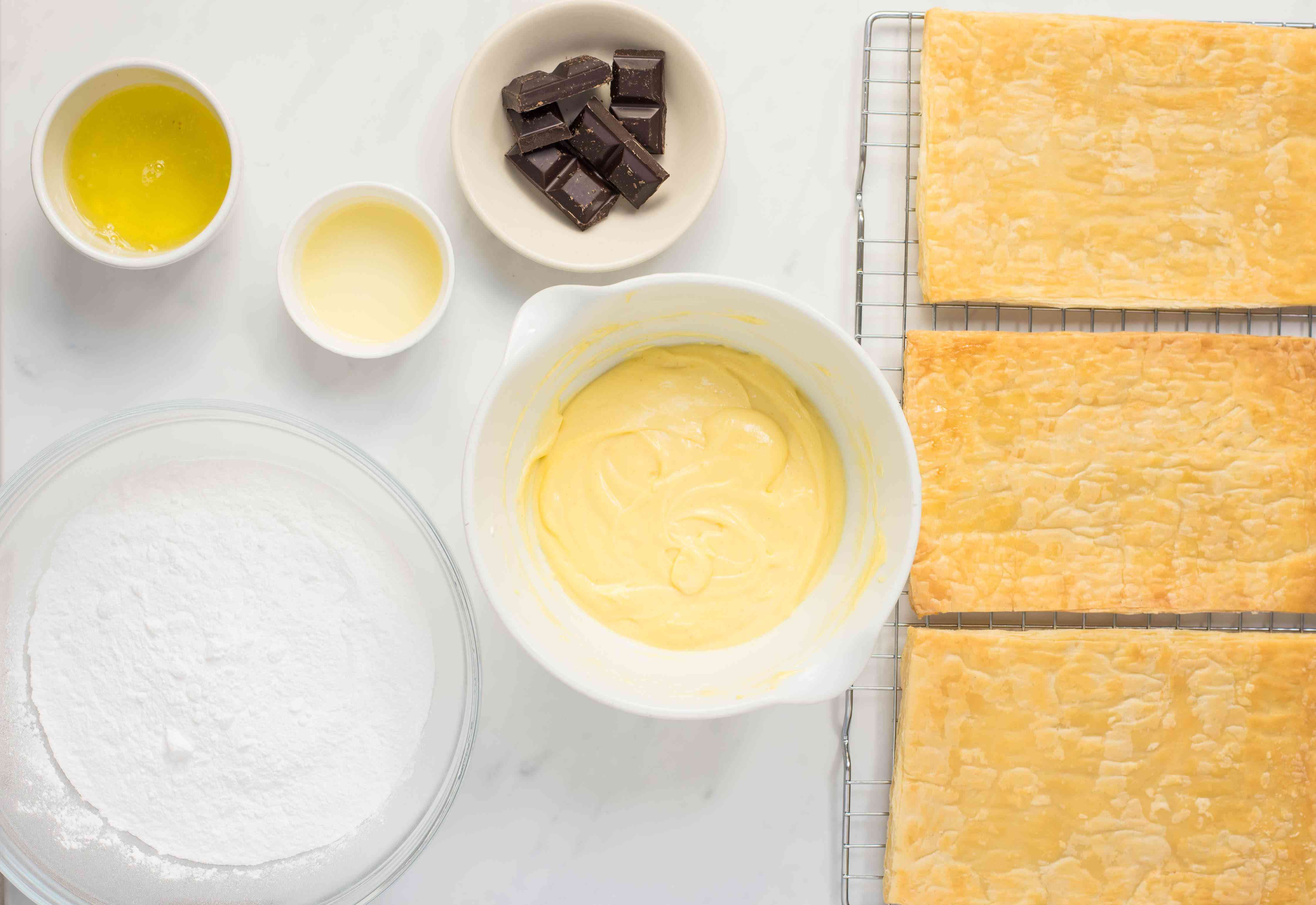 Assemble ingredients for mille-feuille