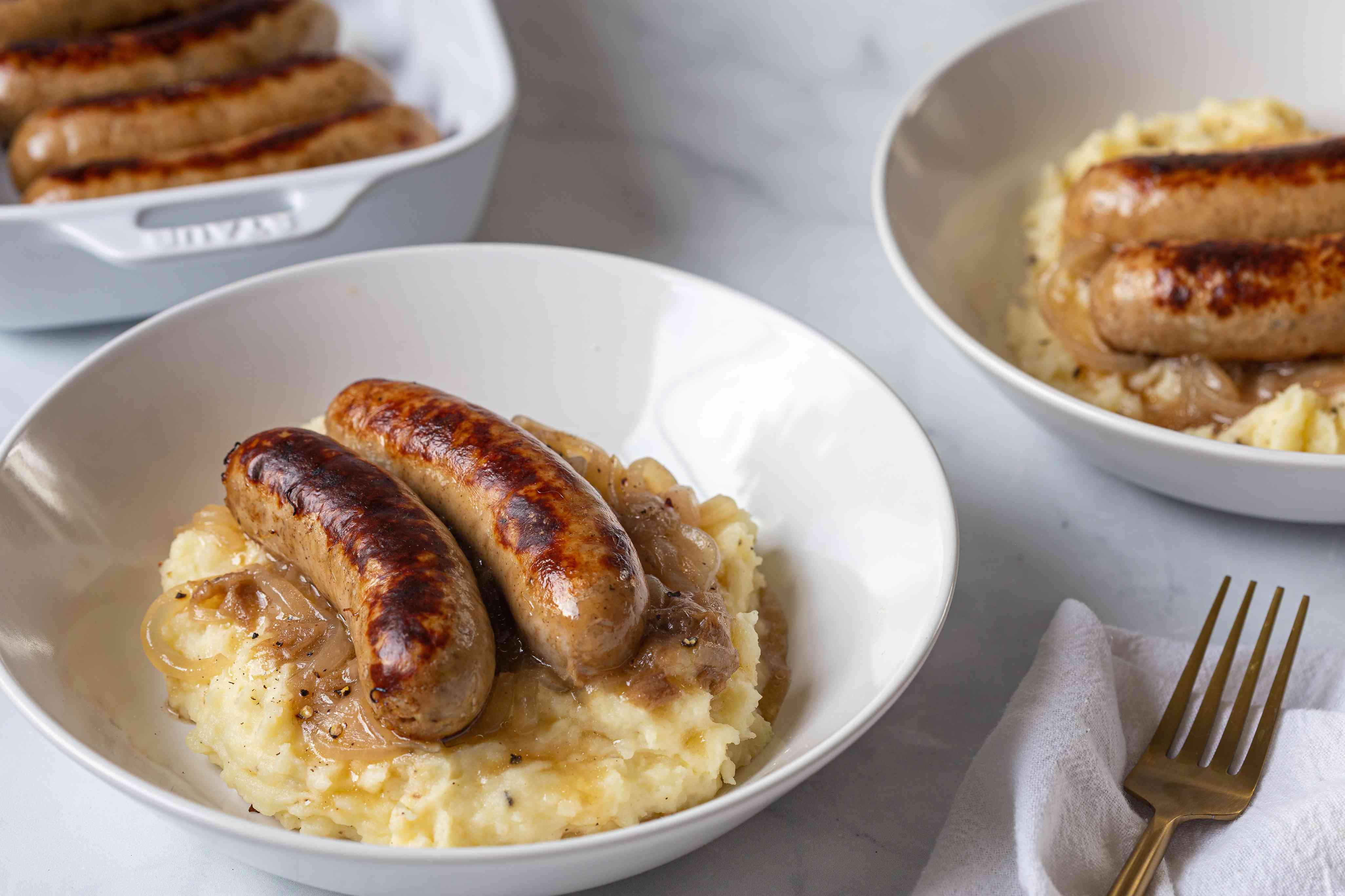 Sausage and mash with onion gravy recipe