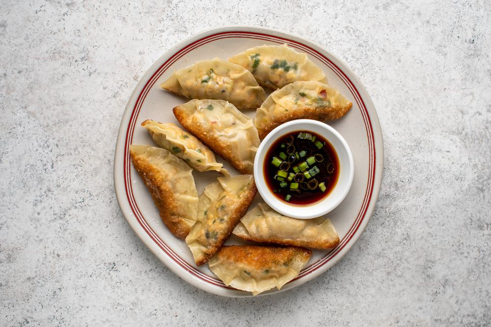 Vegan Potstickers With Mushroom and Tofu on a plate