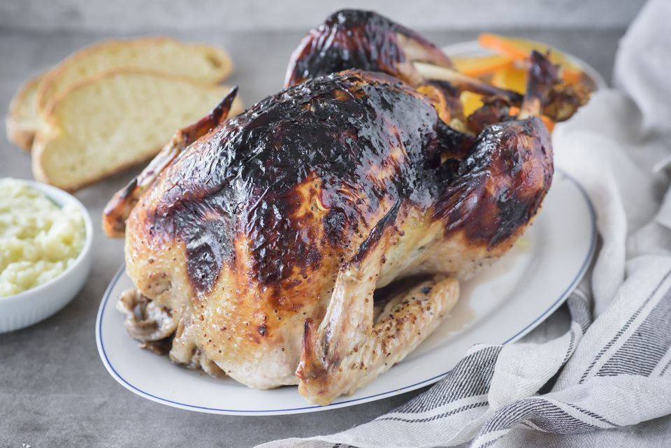 Turkey with herb butter and maple glaze