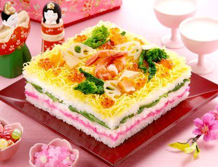 Layered Chirashi Sushi for Hinamatsuri (Girl's Day)