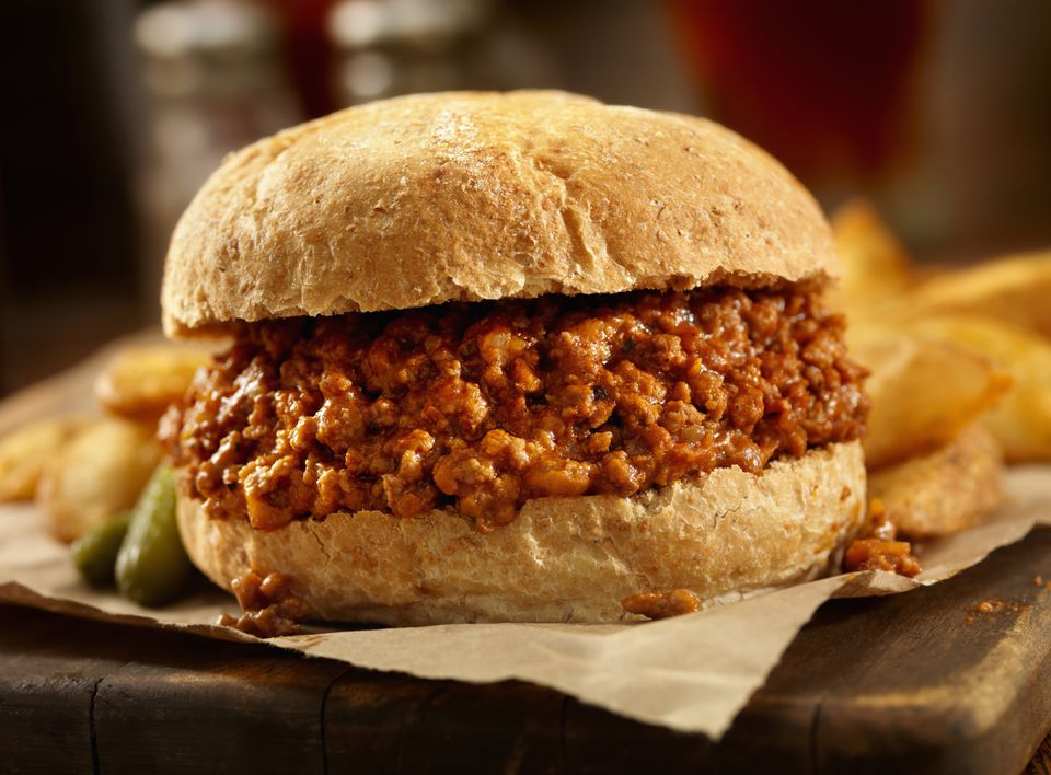 Close up of Sloppy Joe Sandwich with fries