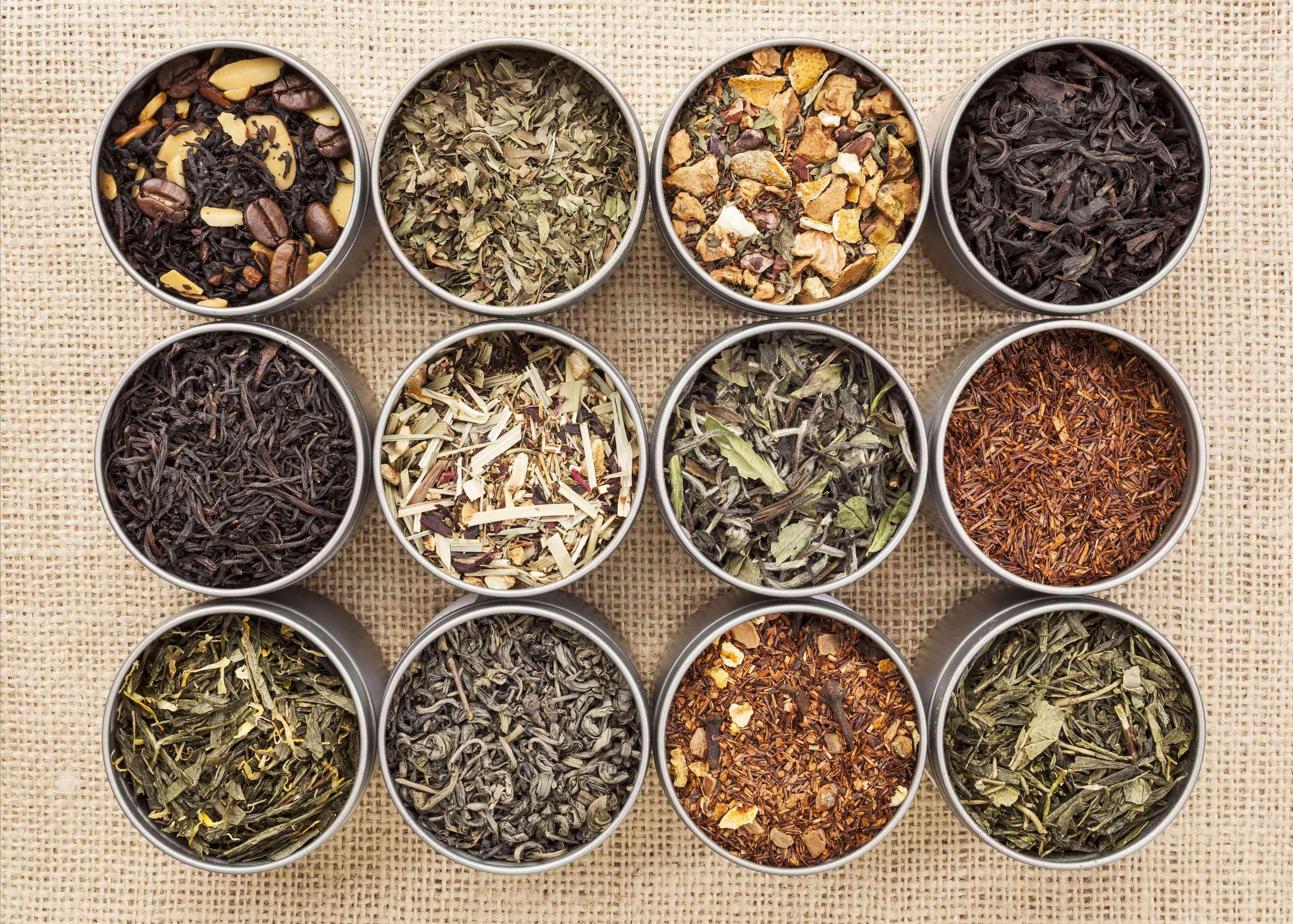 twelve tins of tea leaves
