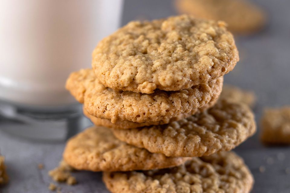 Oatmeal cookies with glass of milk