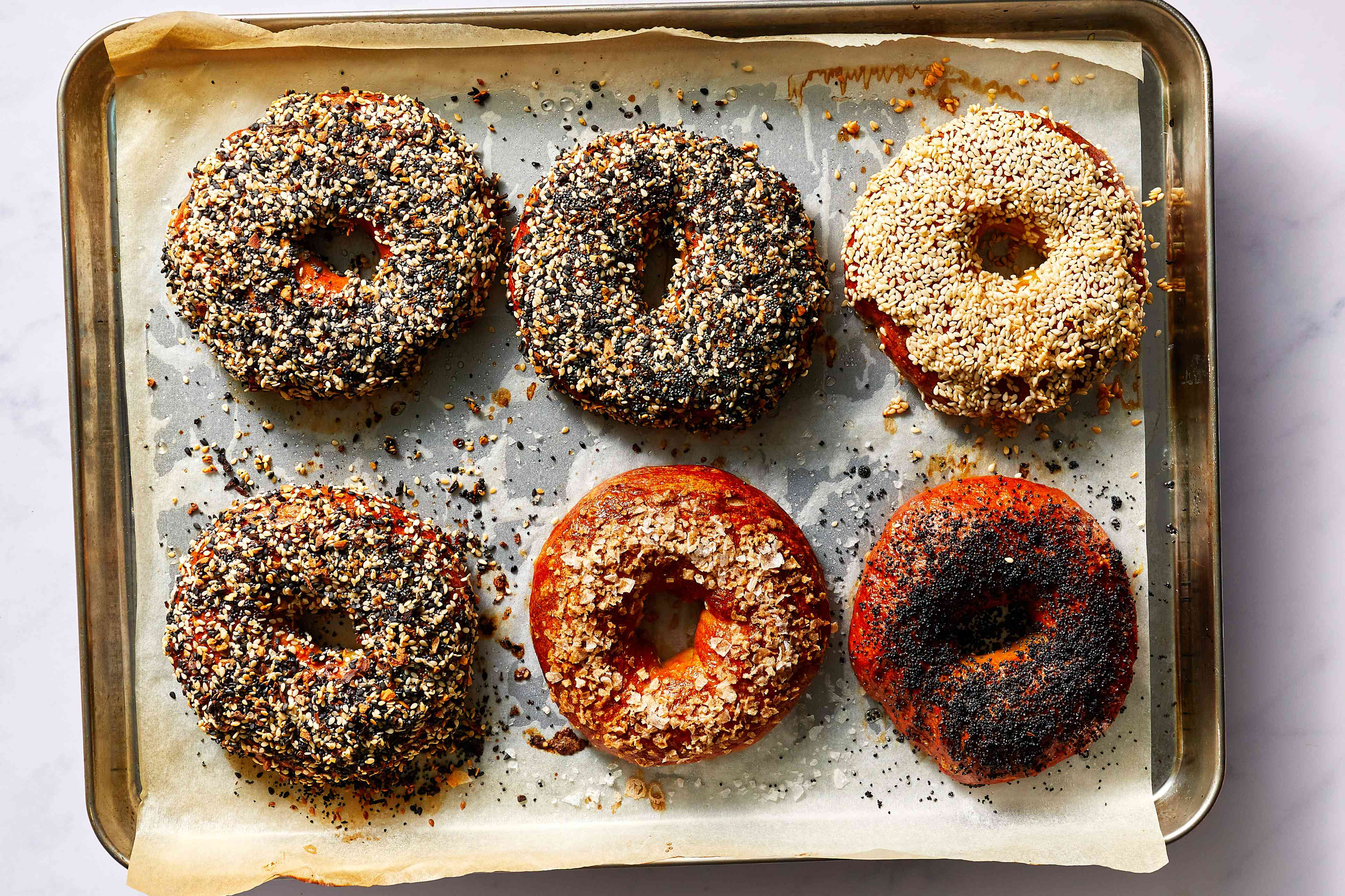 baked bagels on a baking sheet