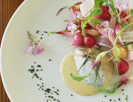 Radish salad served with a mustard vinaigrette