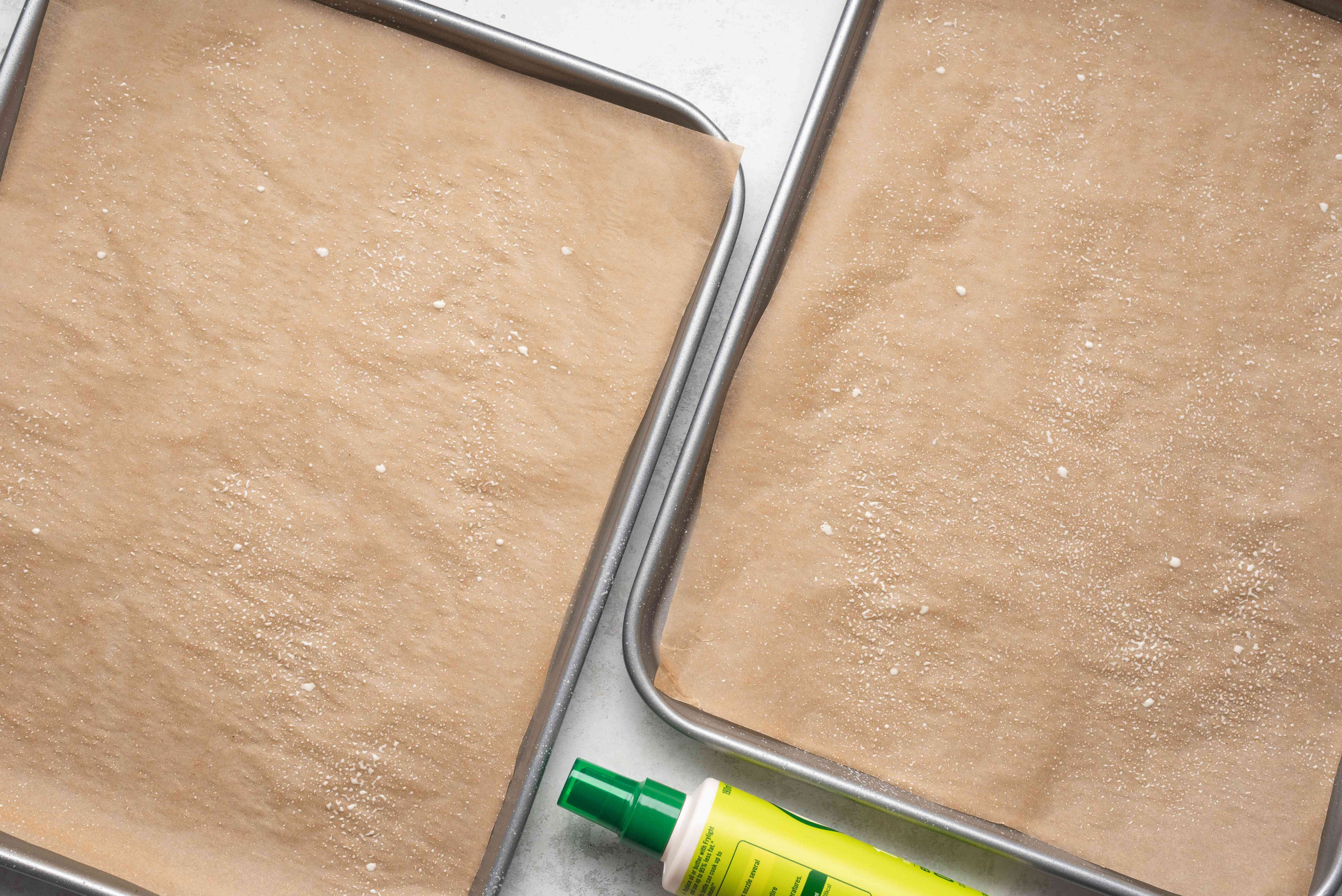 greased baking sheets with wax paper
