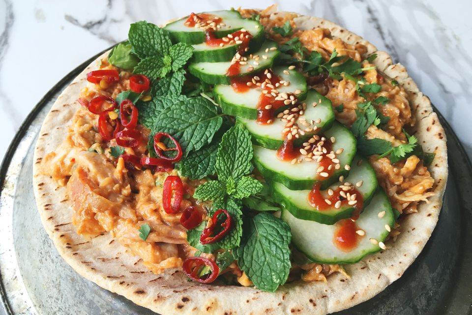 Spicy Thai Chicken Salad Wrap with Sesame Peanut Dressing
