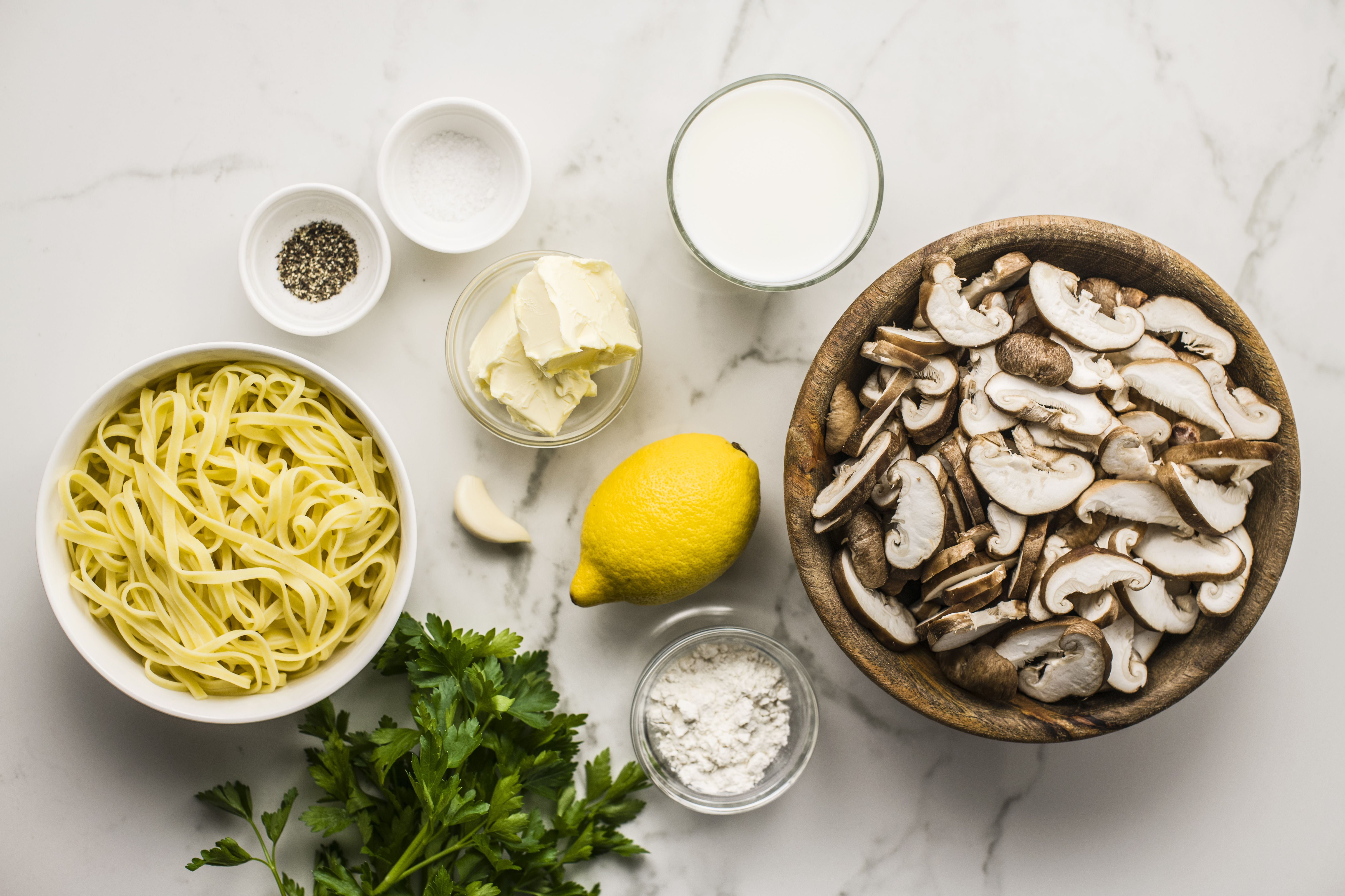 Ingredients for vegan mushroom cream sauce