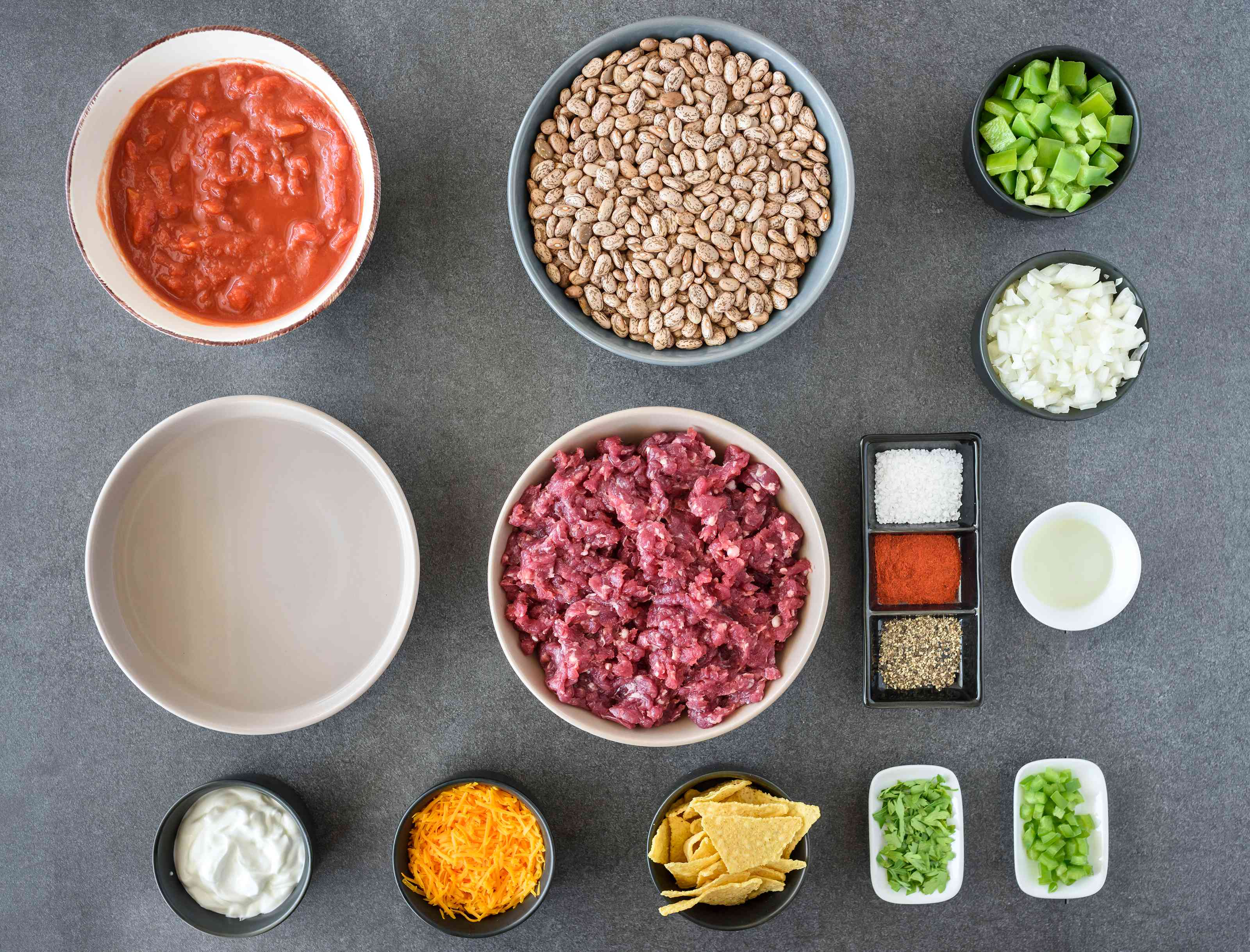 Ingredients for easy slow cooked chili beans