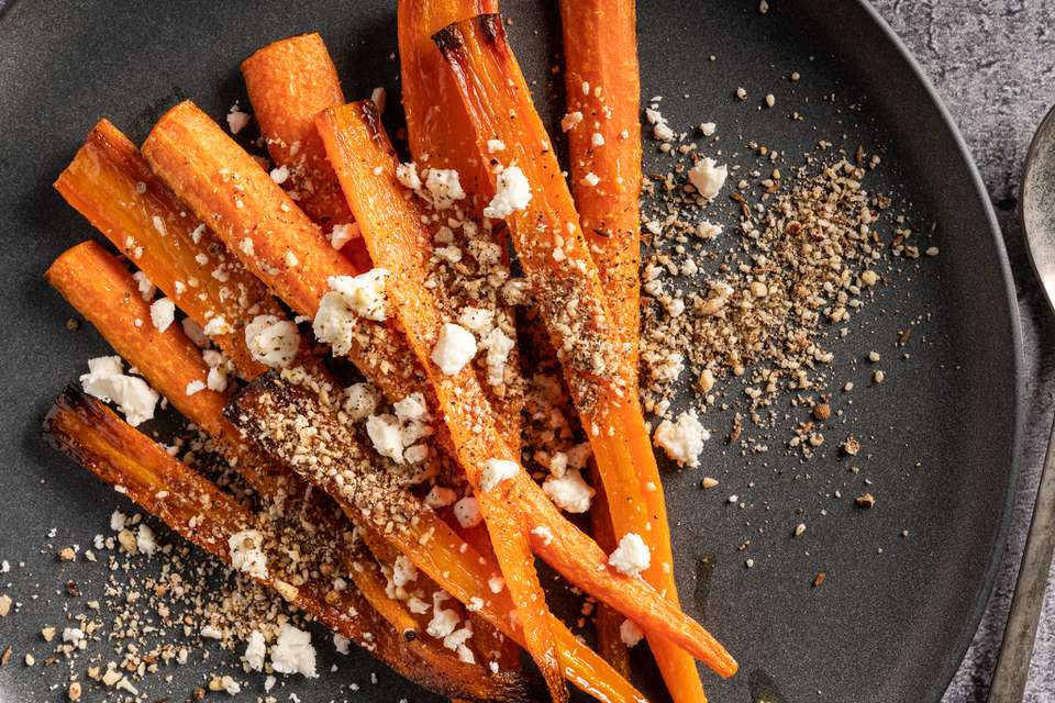 Roasted carrots with feta and dukkah