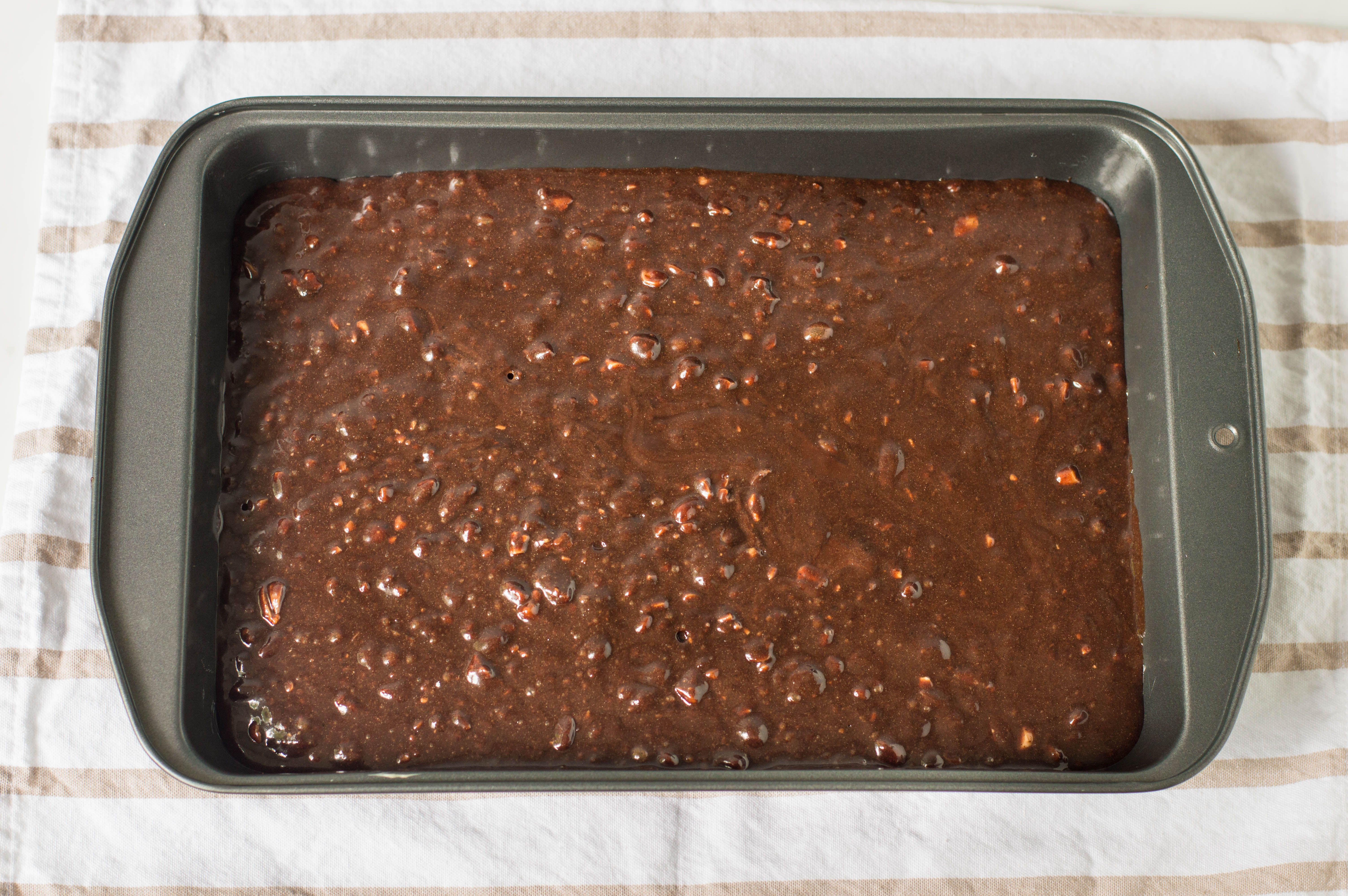 Chocolate Fudge Brownies mixture in baking pan