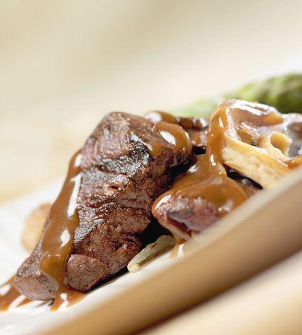 venison steak with mushrooms