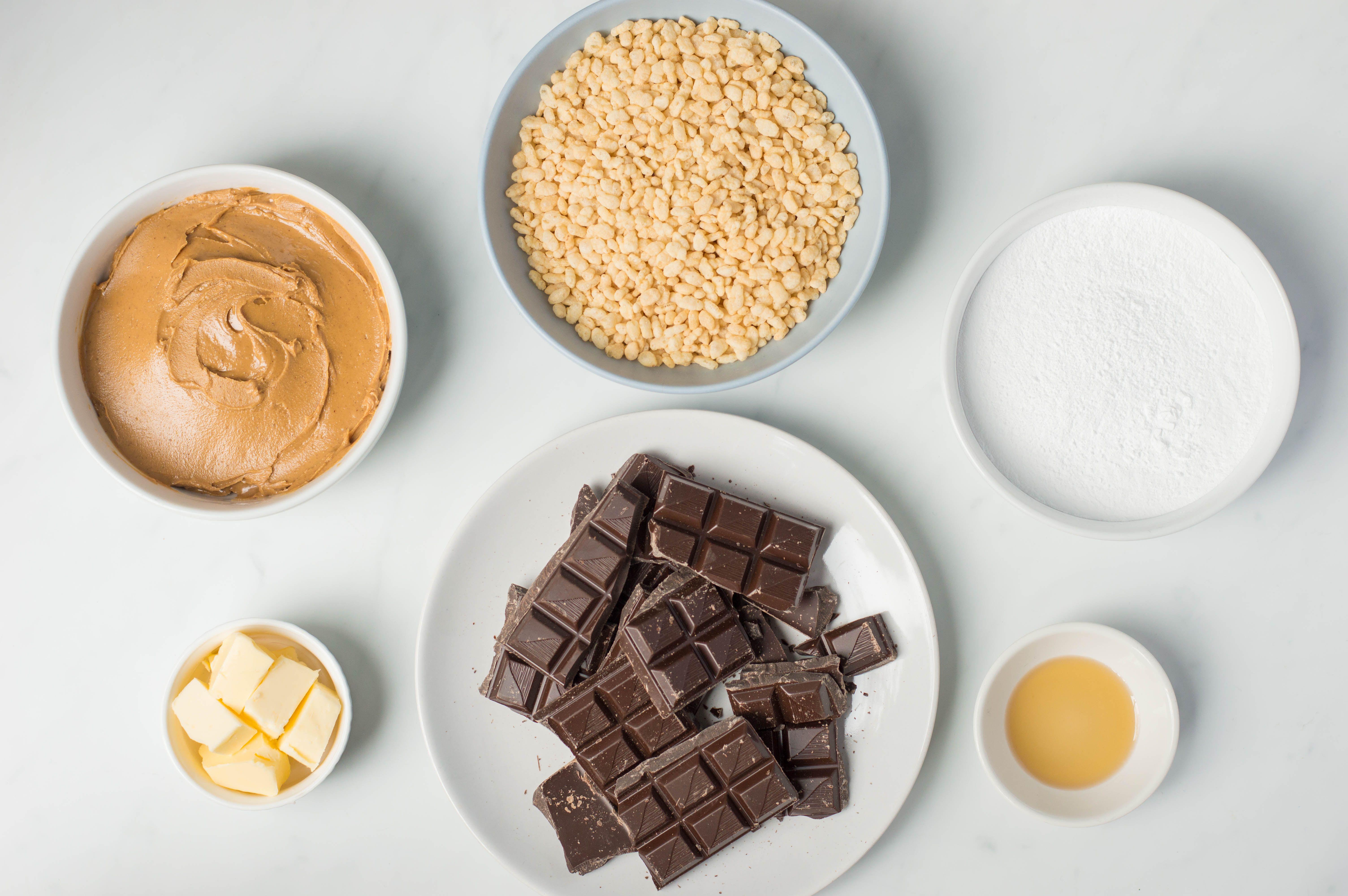 Ingredients for crunchy buckeyes