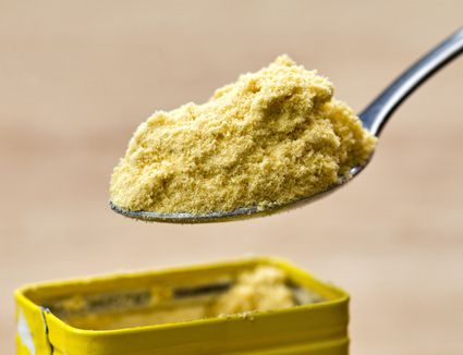 Spoonful of hot mustard powder