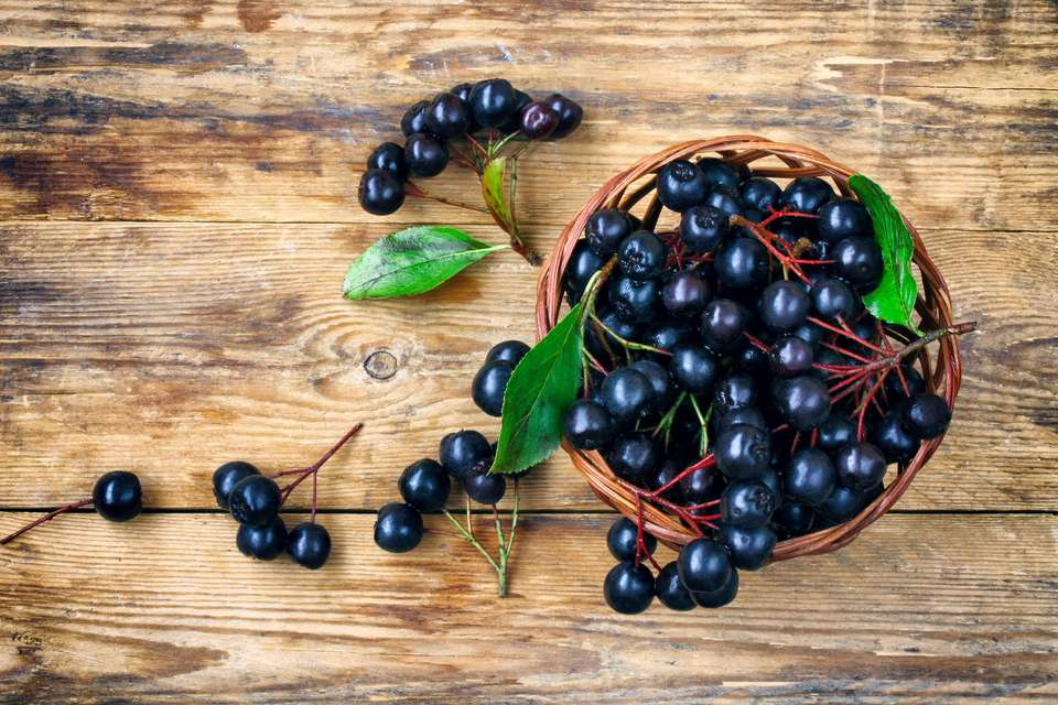 Aronia berries on a table