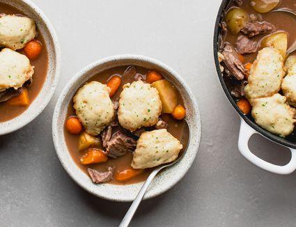 Easy Drop Dumplings for Stew Recipe, bowl of stew with dumplings, beef and carrots